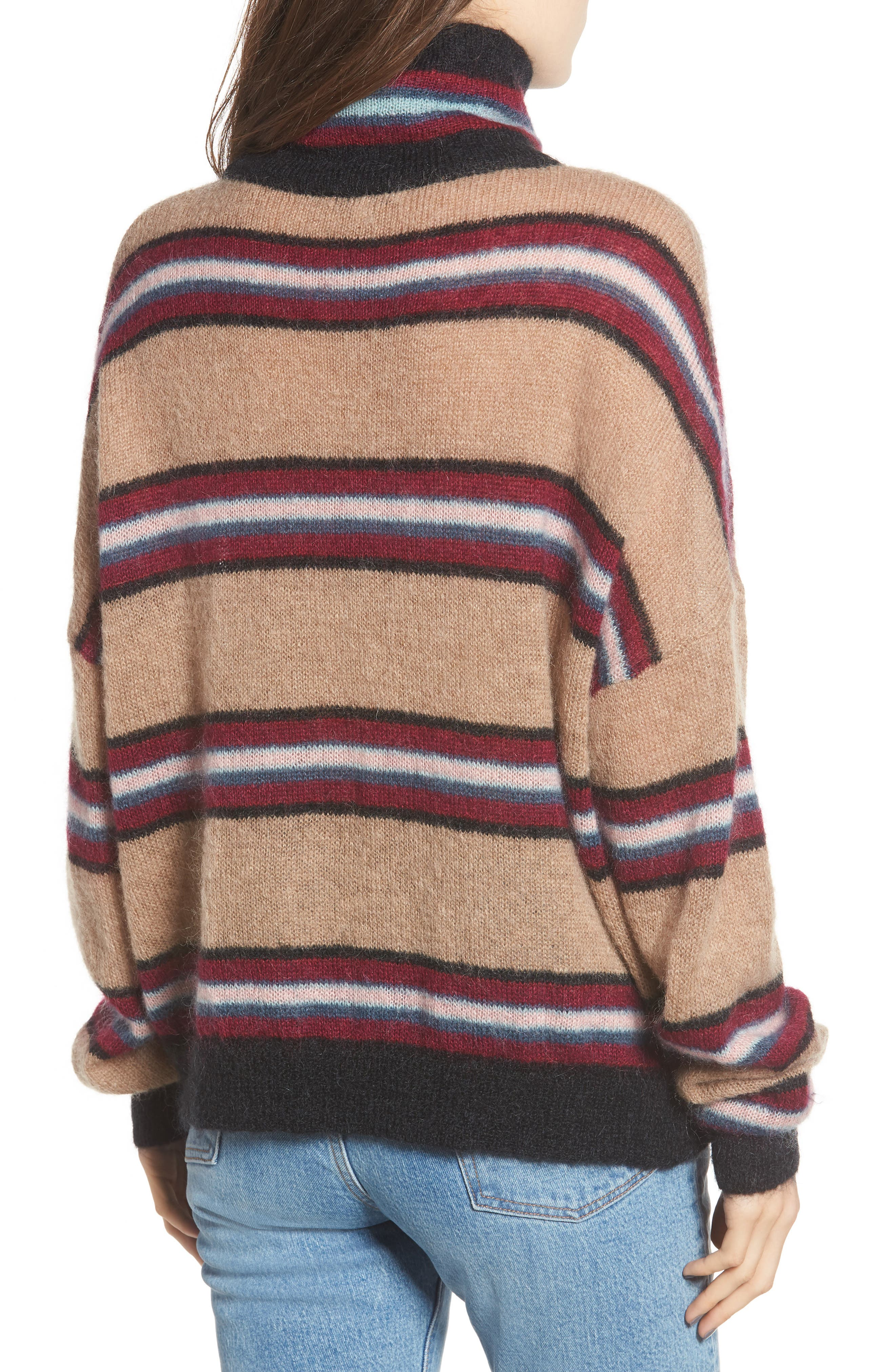 Ella Stripe Turtleneck Sweater,                             Alternate thumbnail 2, color,                             250