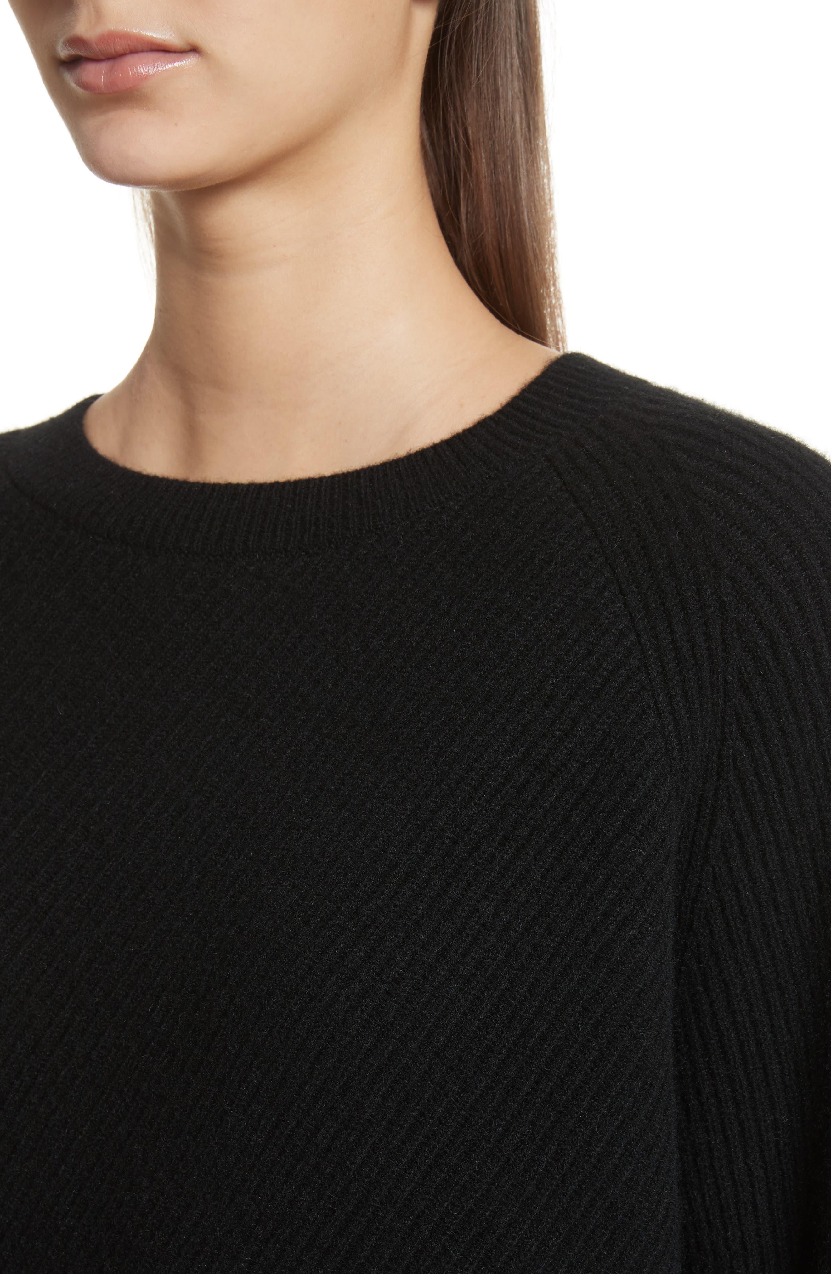 Diagonal Rib Wool & Cashmere Sweater,                             Alternate thumbnail 4, color,                             001