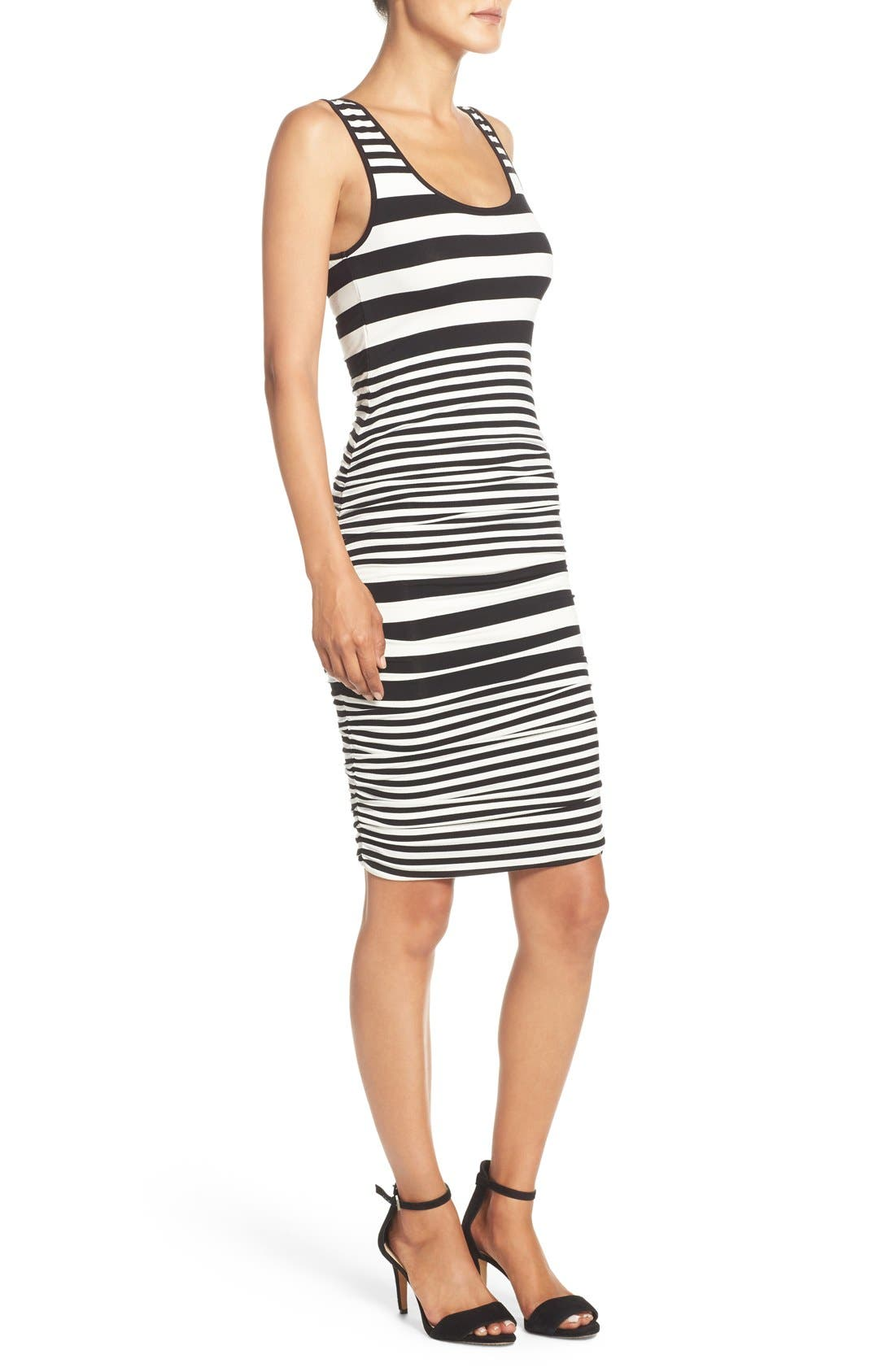 Stripe Ruched Jersey Tank Dress,                             Alternate thumbnail 2, color,                             001
