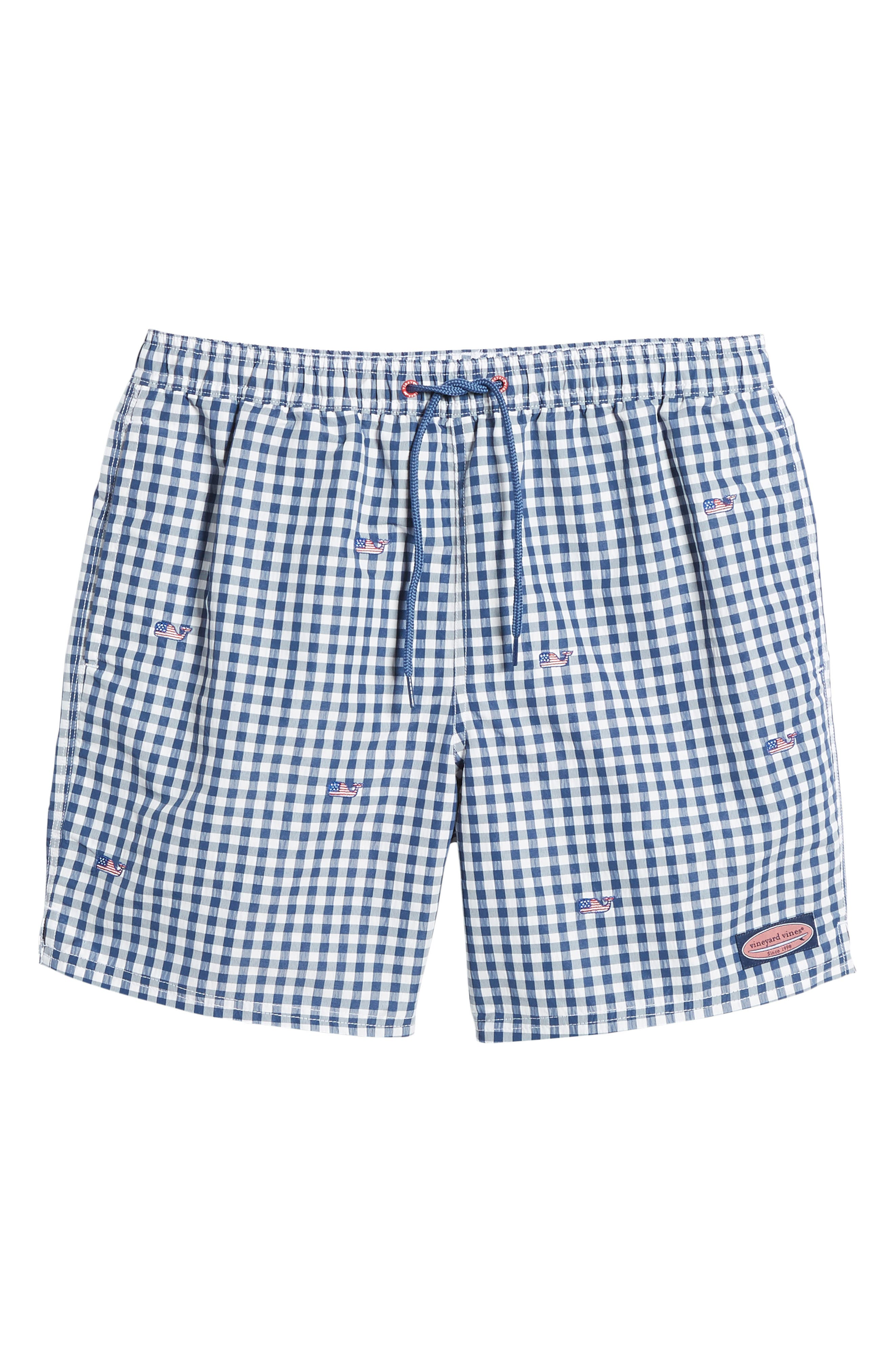 Chappy Flag Whale Embroidered Gingham Swim Trunks,                             Alternate thumbnail 6, color,                             461