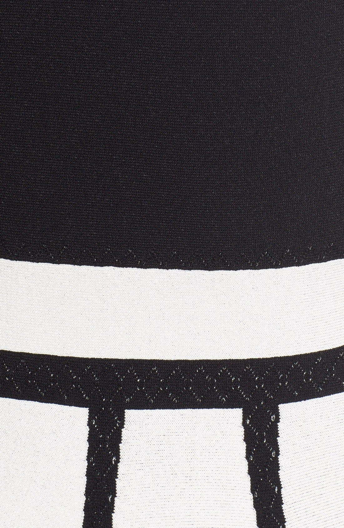 Intarsia Knit Fit & Flare Dress,                             Alternate thumbnail 2, color,                             BLACK/ WHITE