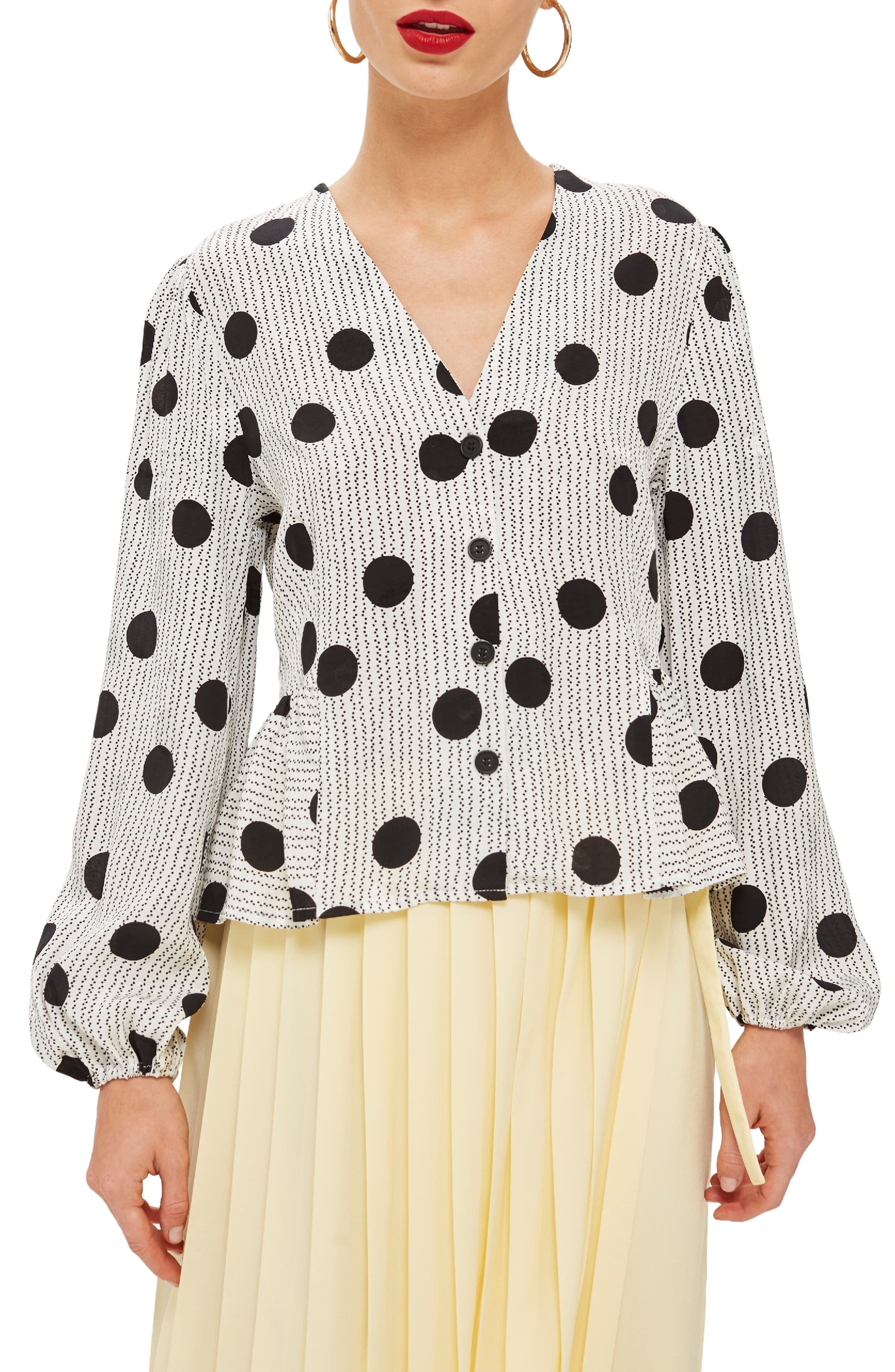 Spotted Peplum Blouse,                         Main,                         color, 001