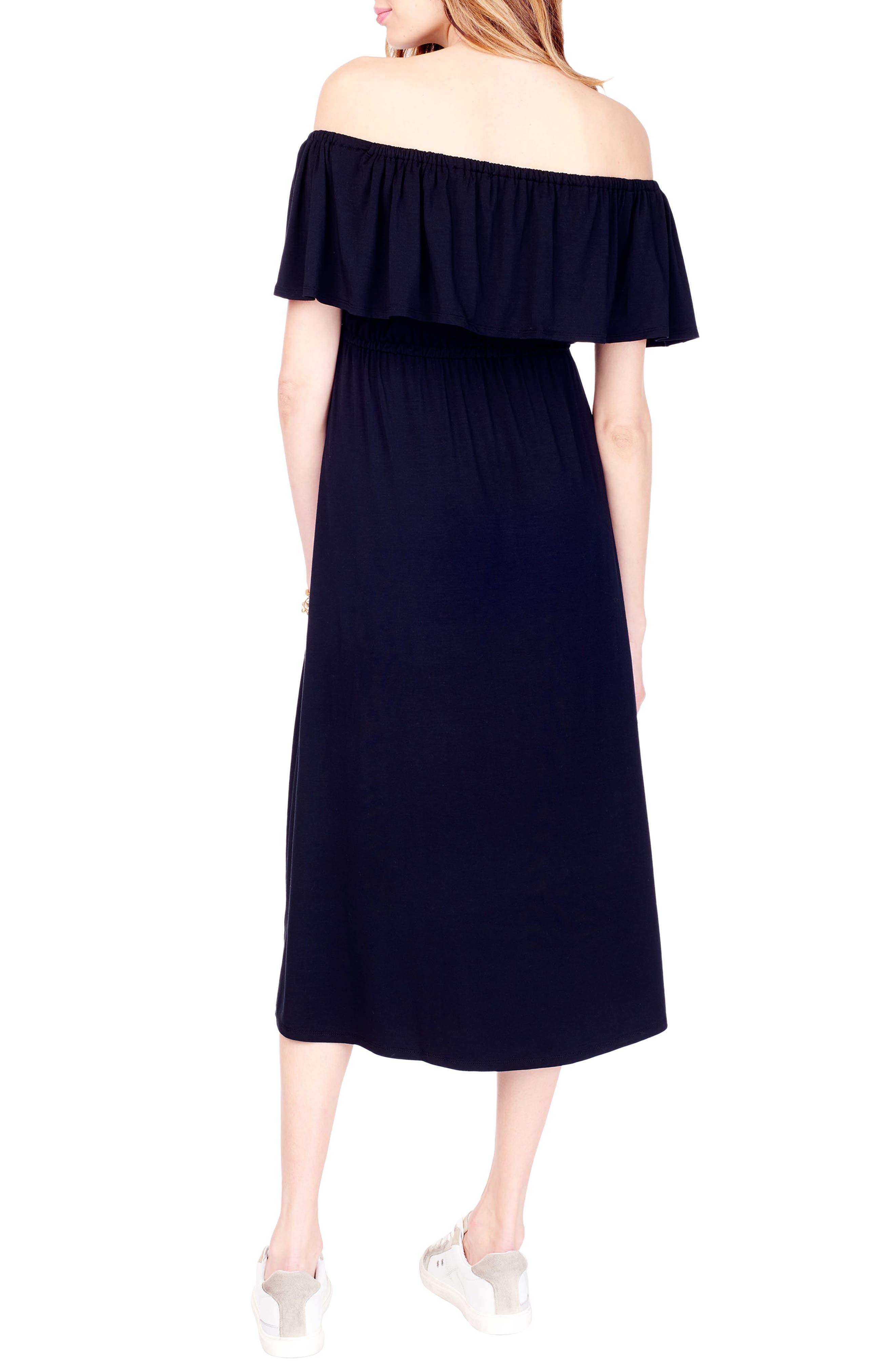 Off the Shoulder Maternity Midi Dress,                             Alternate thumbnail 2, color,                             JET BLACK