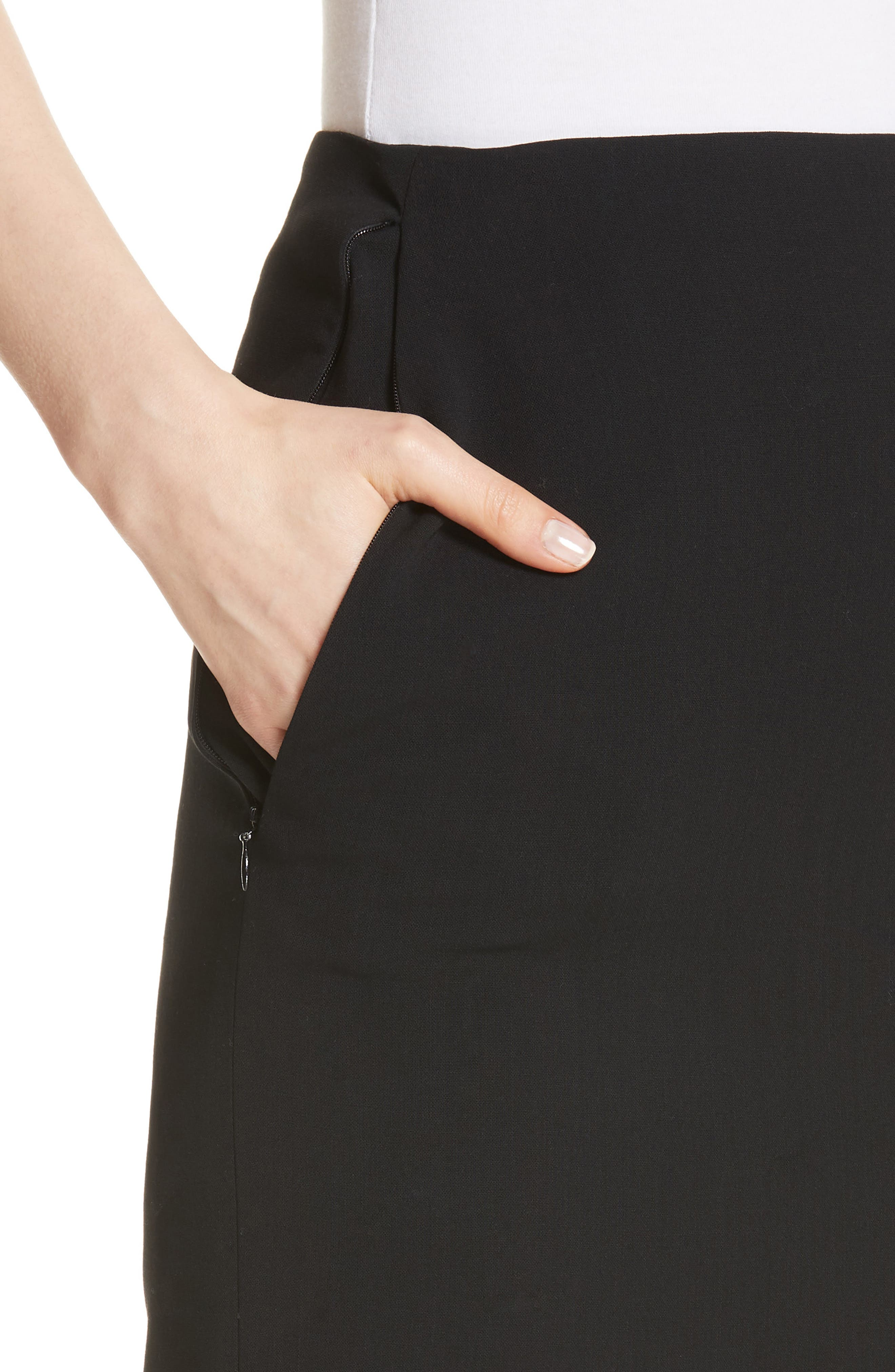 Double Face Pencil Skirt,                             Alternate thumbnail 4, color,                             BLACK
