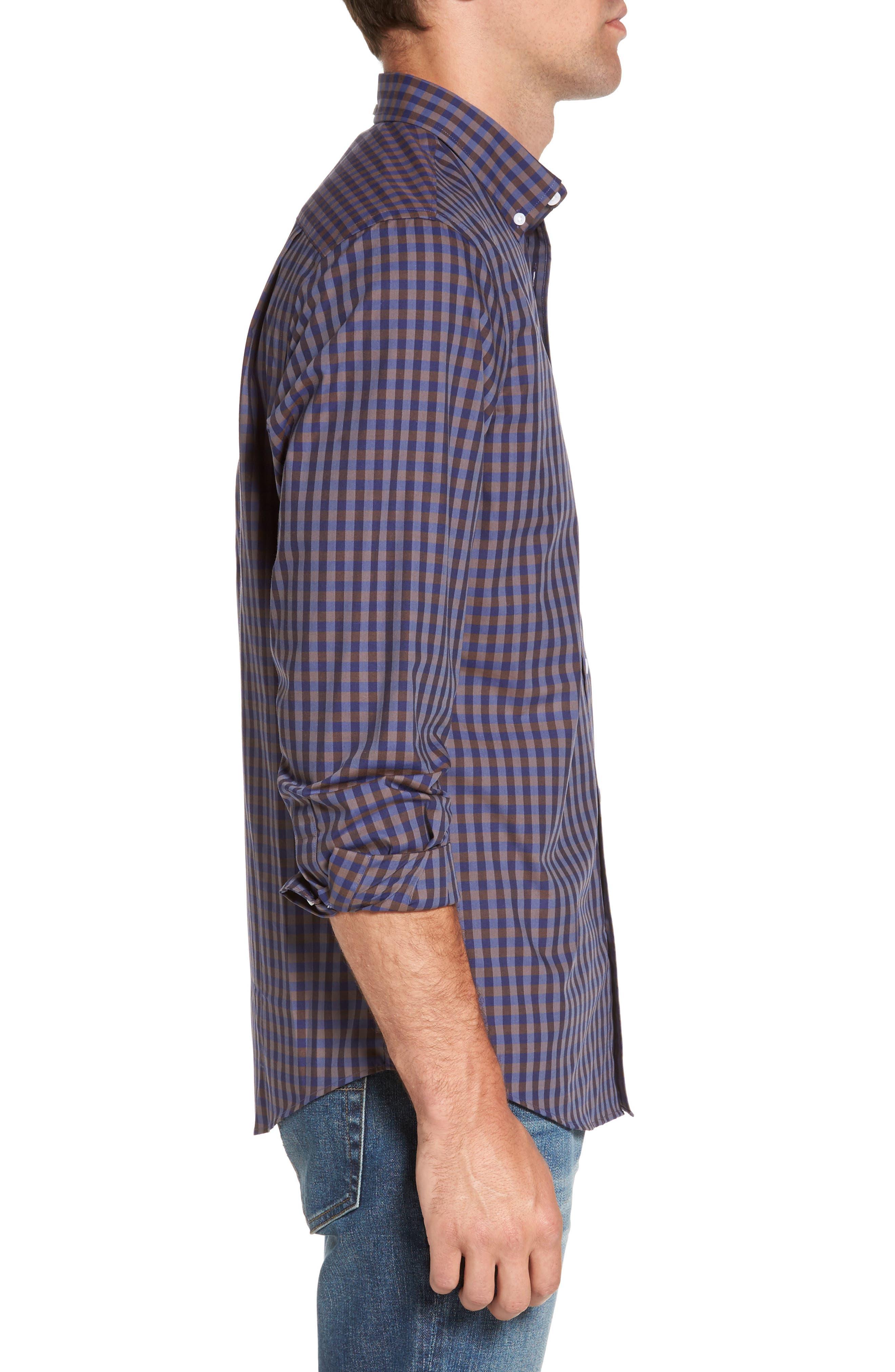 Regular Fit Non-Iron Check Sport Shirt,                             Alternate thumbnail 3, color,