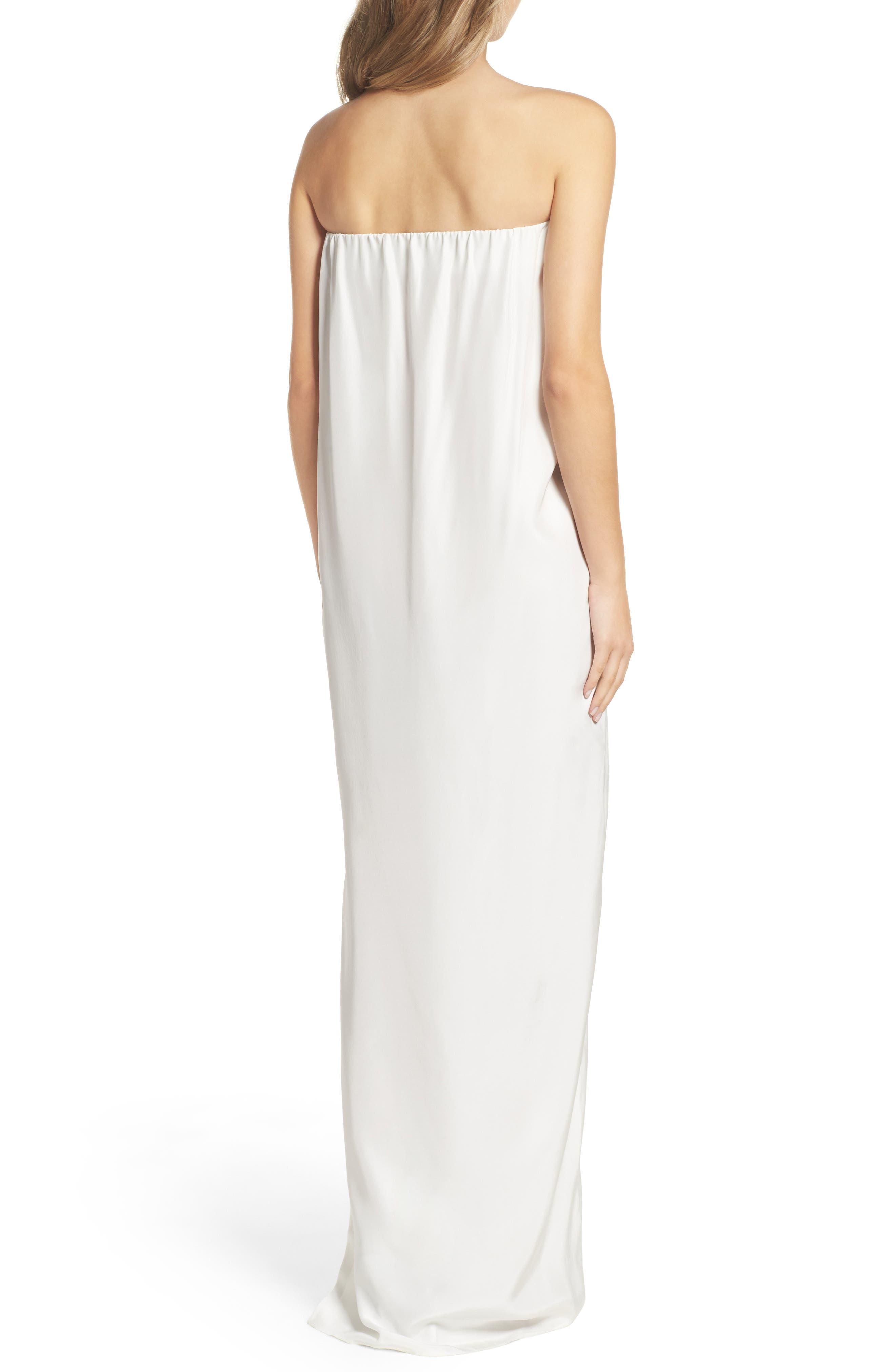 Strapless Silk Column Gown,                             Alternate thumbnail 2, color,                             100
