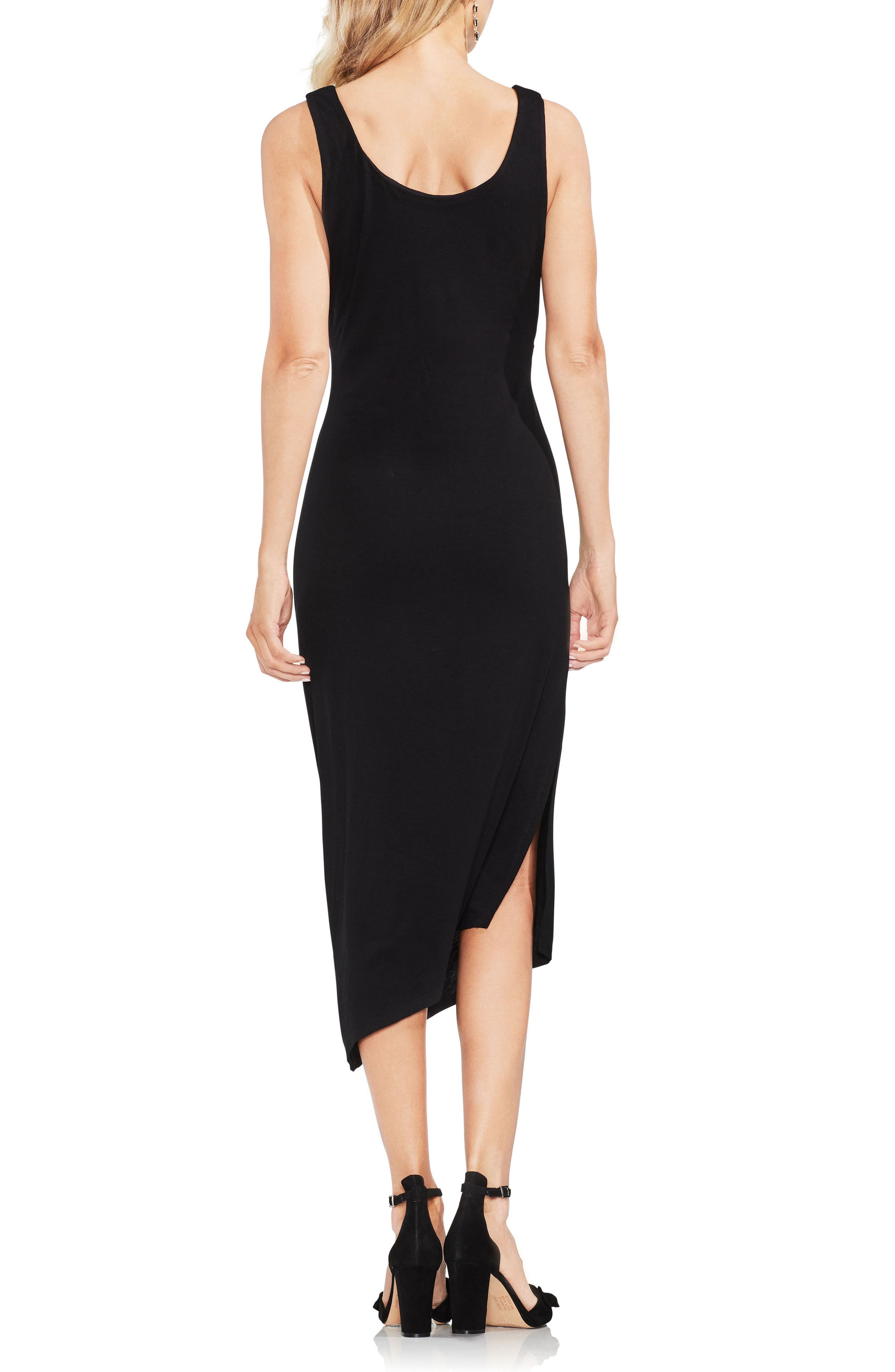 Side Ruched Asymmetrical Body-Con Dress,                             Alternate thumbnail 2, color,                             001