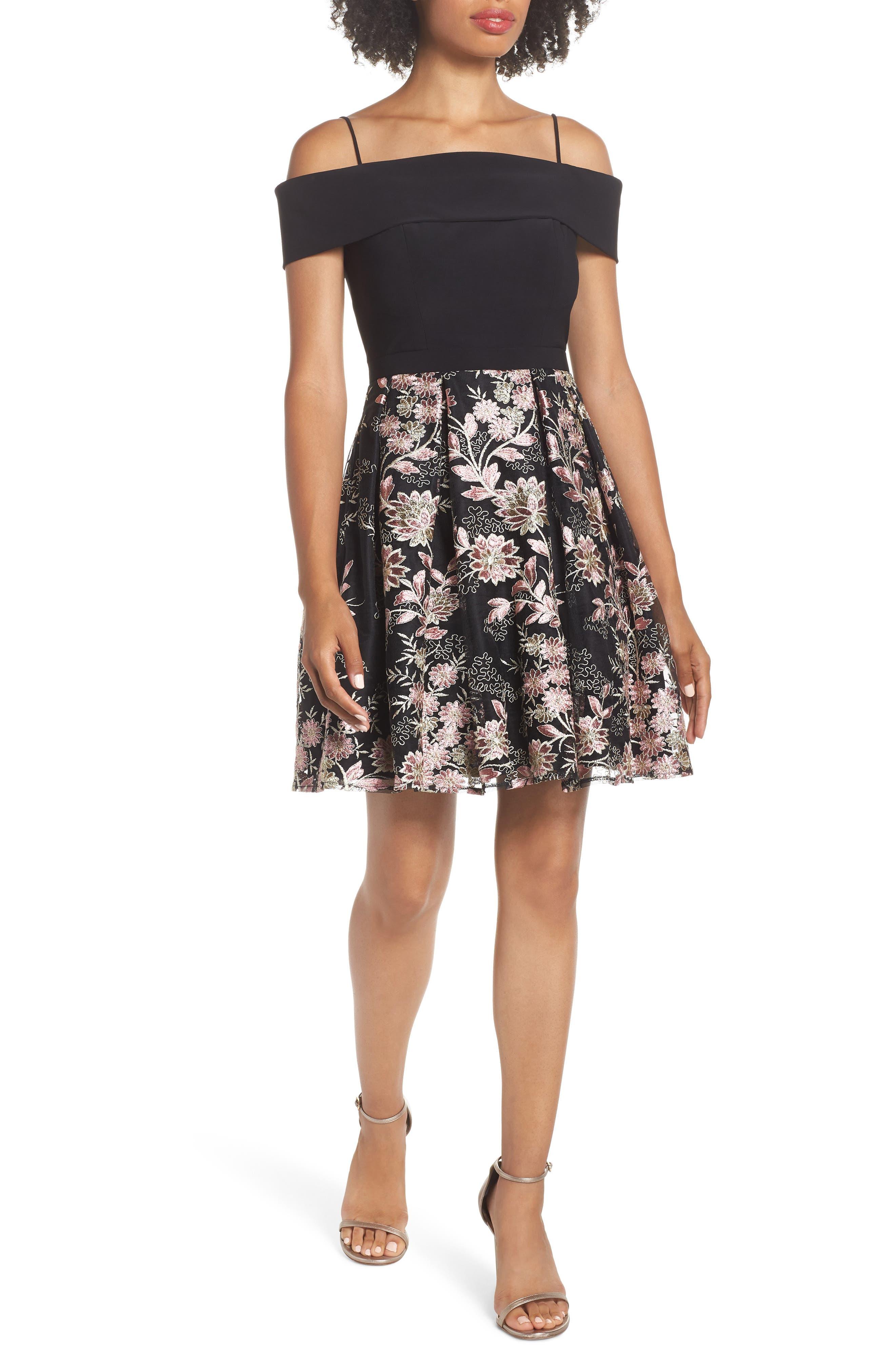 Morgan & Co. Foldover Neckline Party Dress, Black