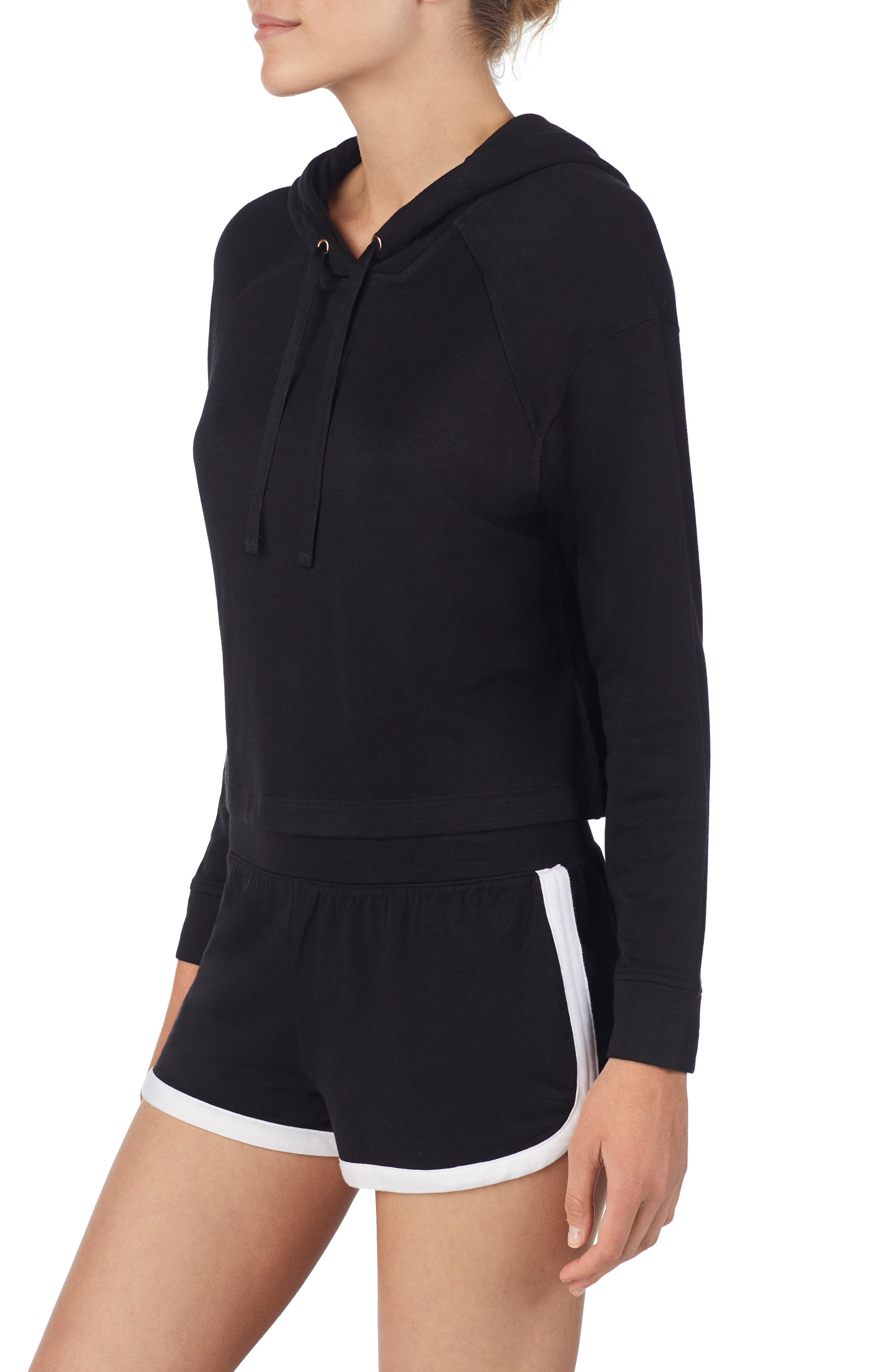 Raglan Lounge Hoodie,                             Alternate thumbnail 3, color,                             BLACK