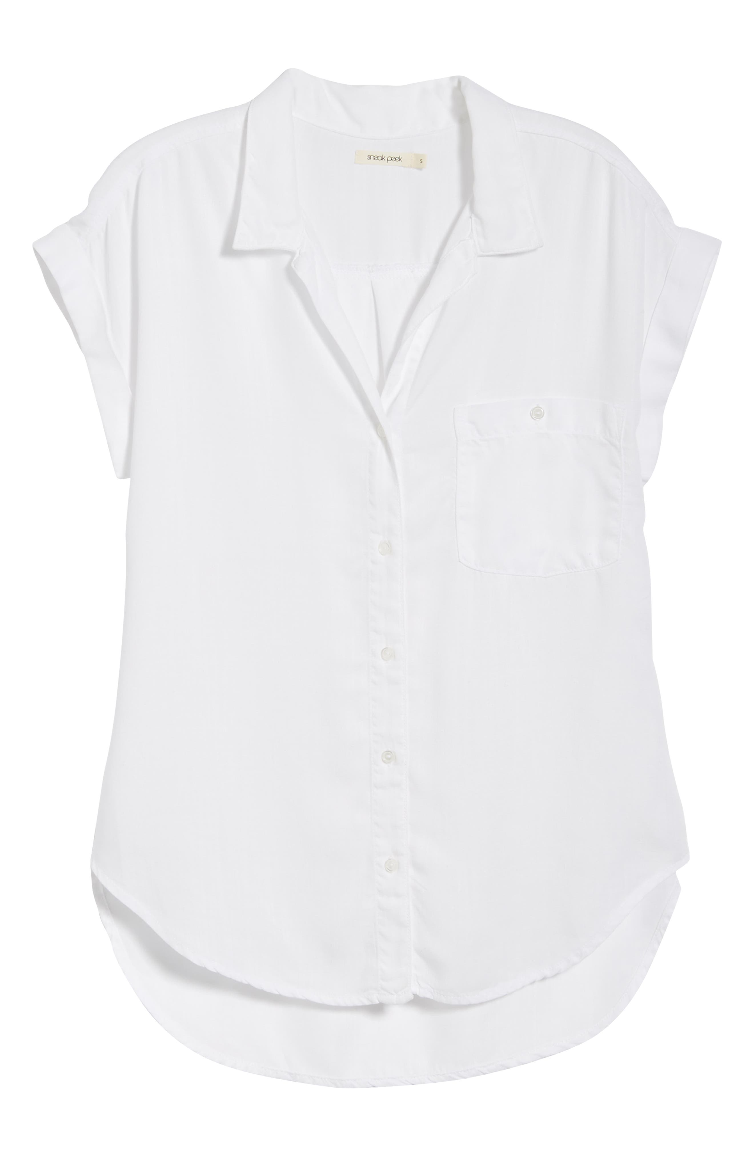 Cap Sleeve Shirt,                             Alternate thumbnail 6, color,                             WHITE