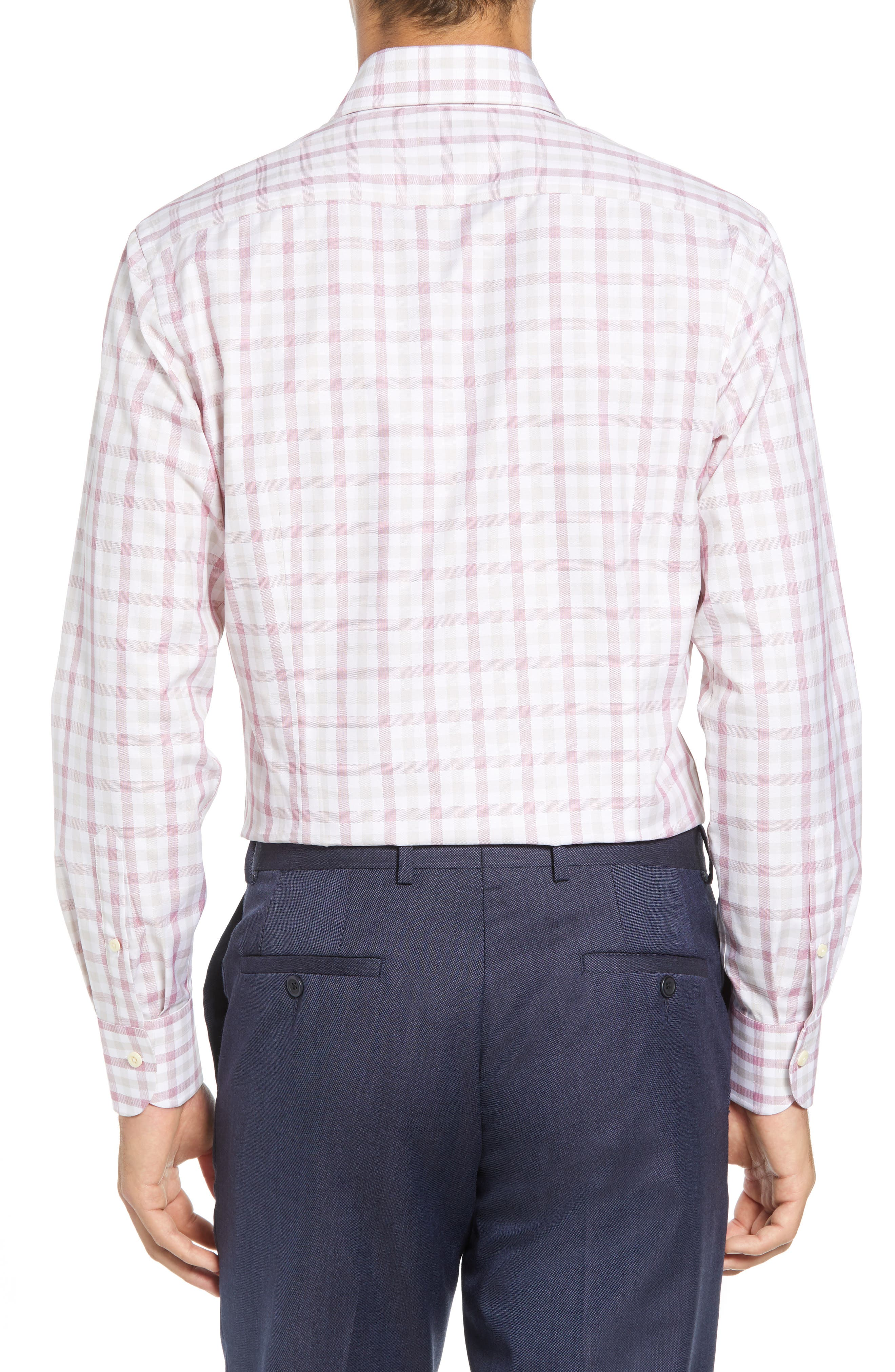 Corbly Trim Fit Check Dress Shirt,                             Alternate thumbnail 3, color,                             RED