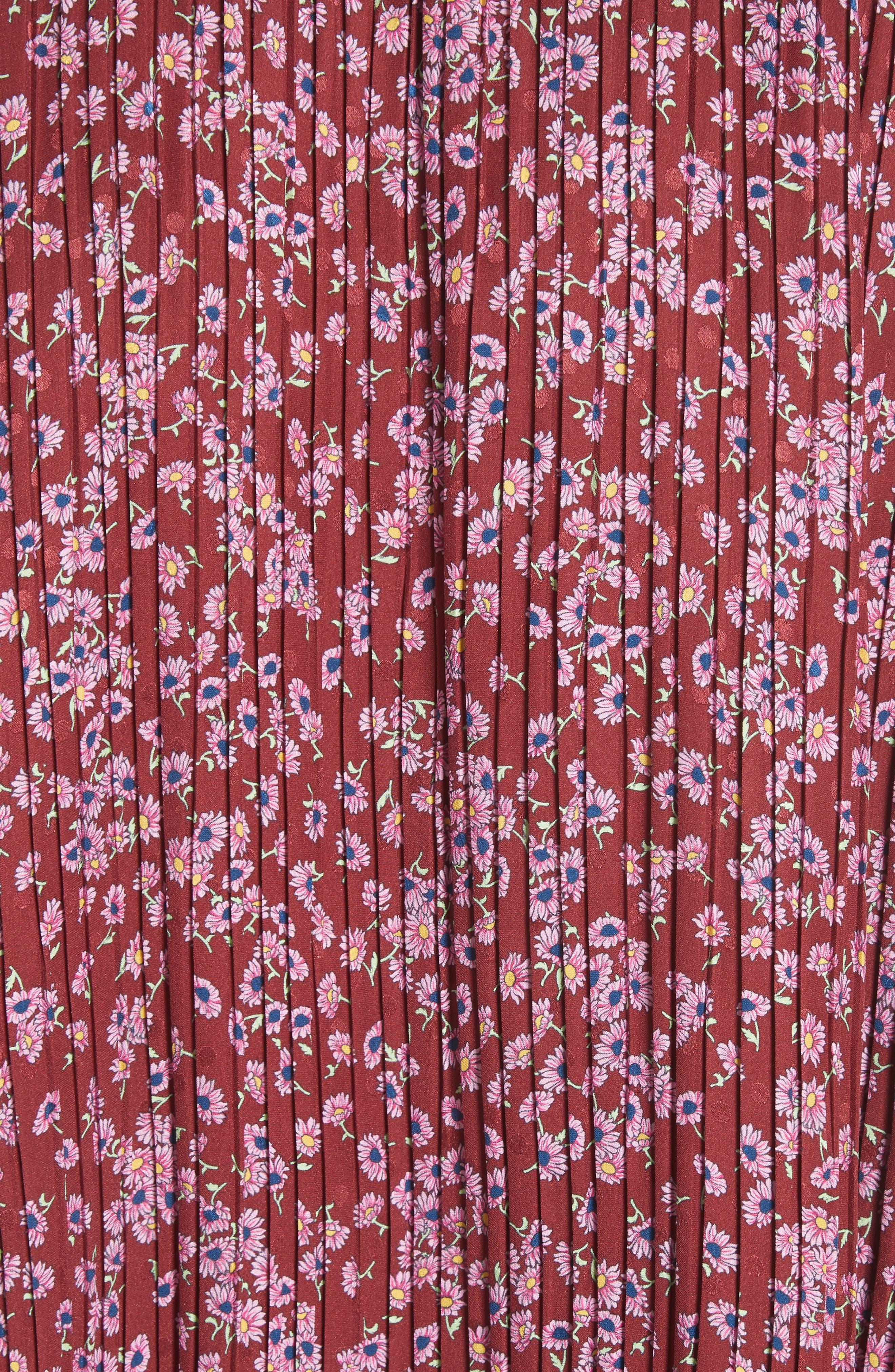 Floral Silk Cold Shoulder Top,                             Alternate thumbnail 5, color,                             930