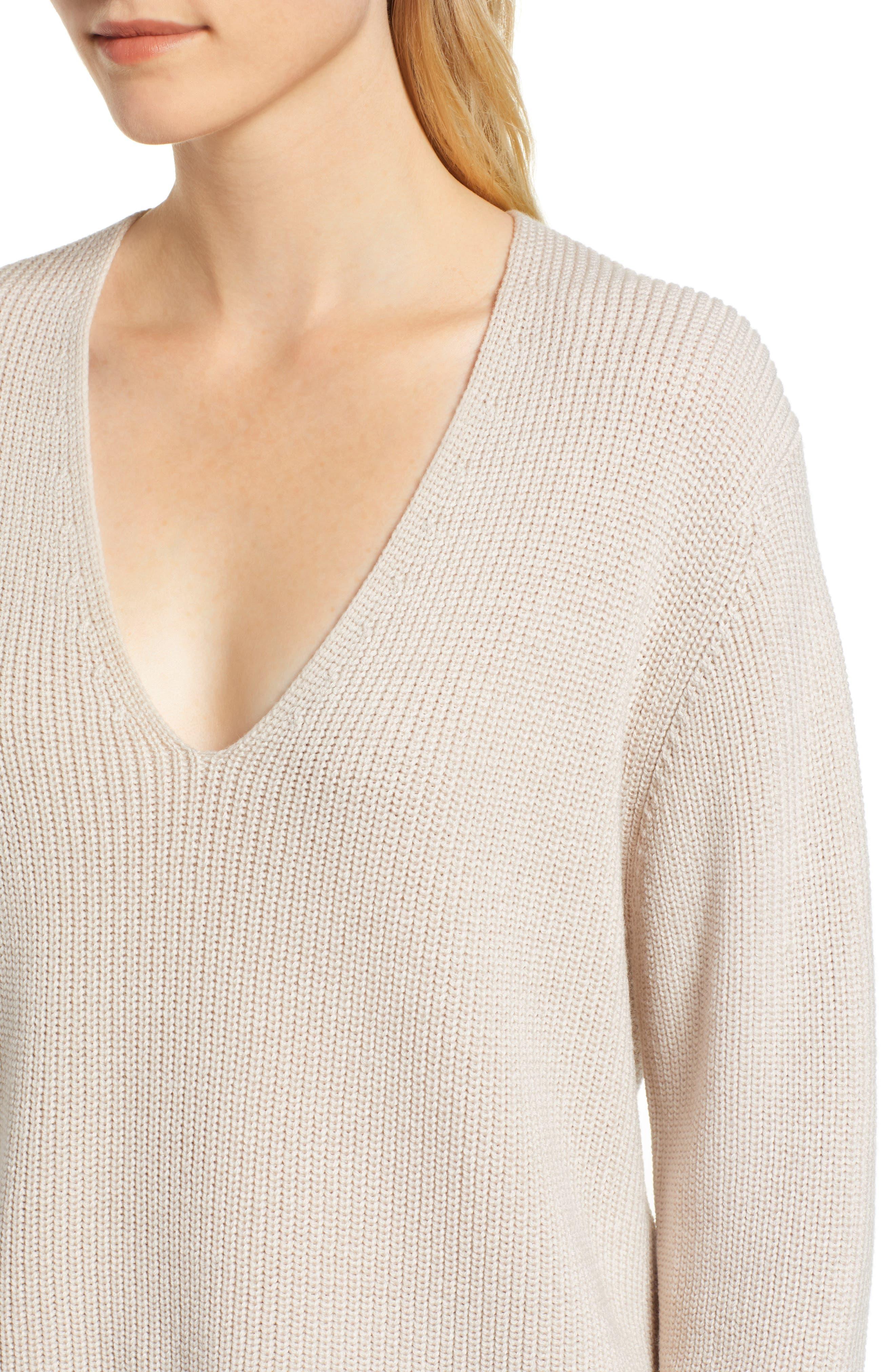 V-Neck Sweater,                             Alternate thumbnail 4, color,                             NUDE