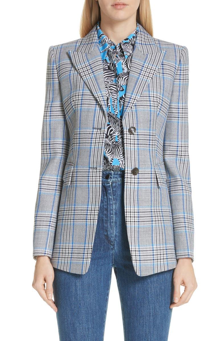 Plaid Pressed Wool Blazer,                         Main,                         color, ROYAL MULTI