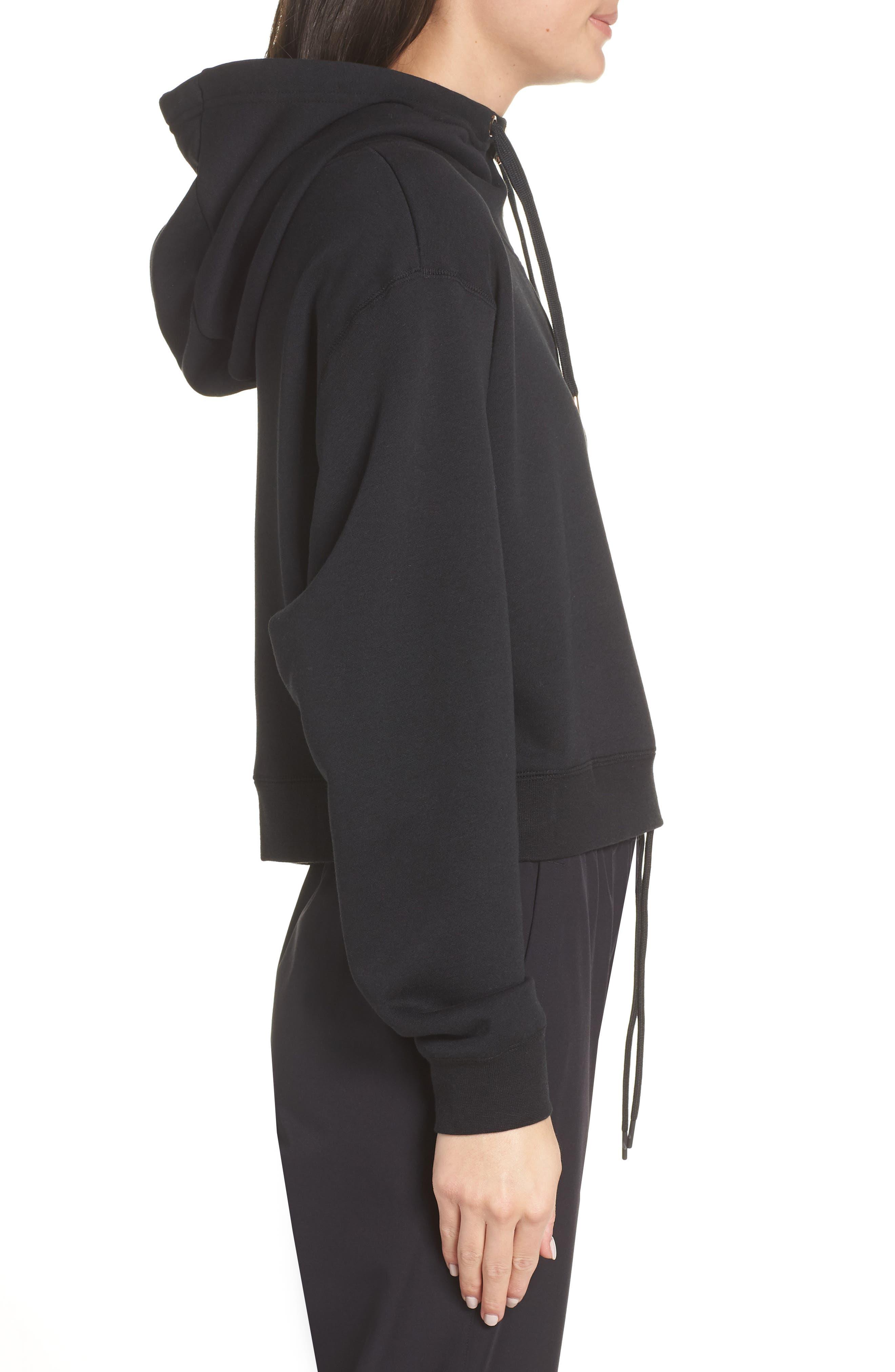 Sportswear Women's Half Zip Fleece Hoodie,                             Alternate thumbnail 3, color,                             BLACK/ BLACK/ ROSE GOLD