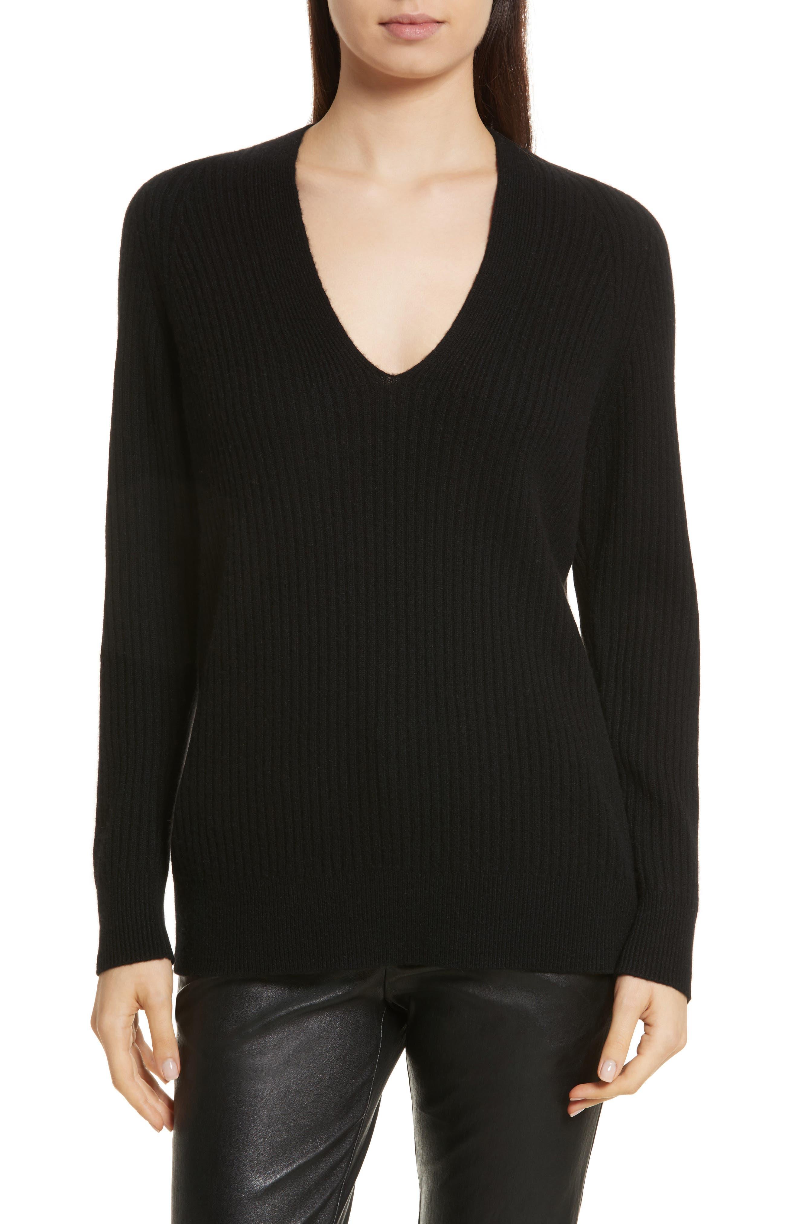 Wool Blend Raglan V-Neck Sweater,                             Main thumbnail 1, color,                             001