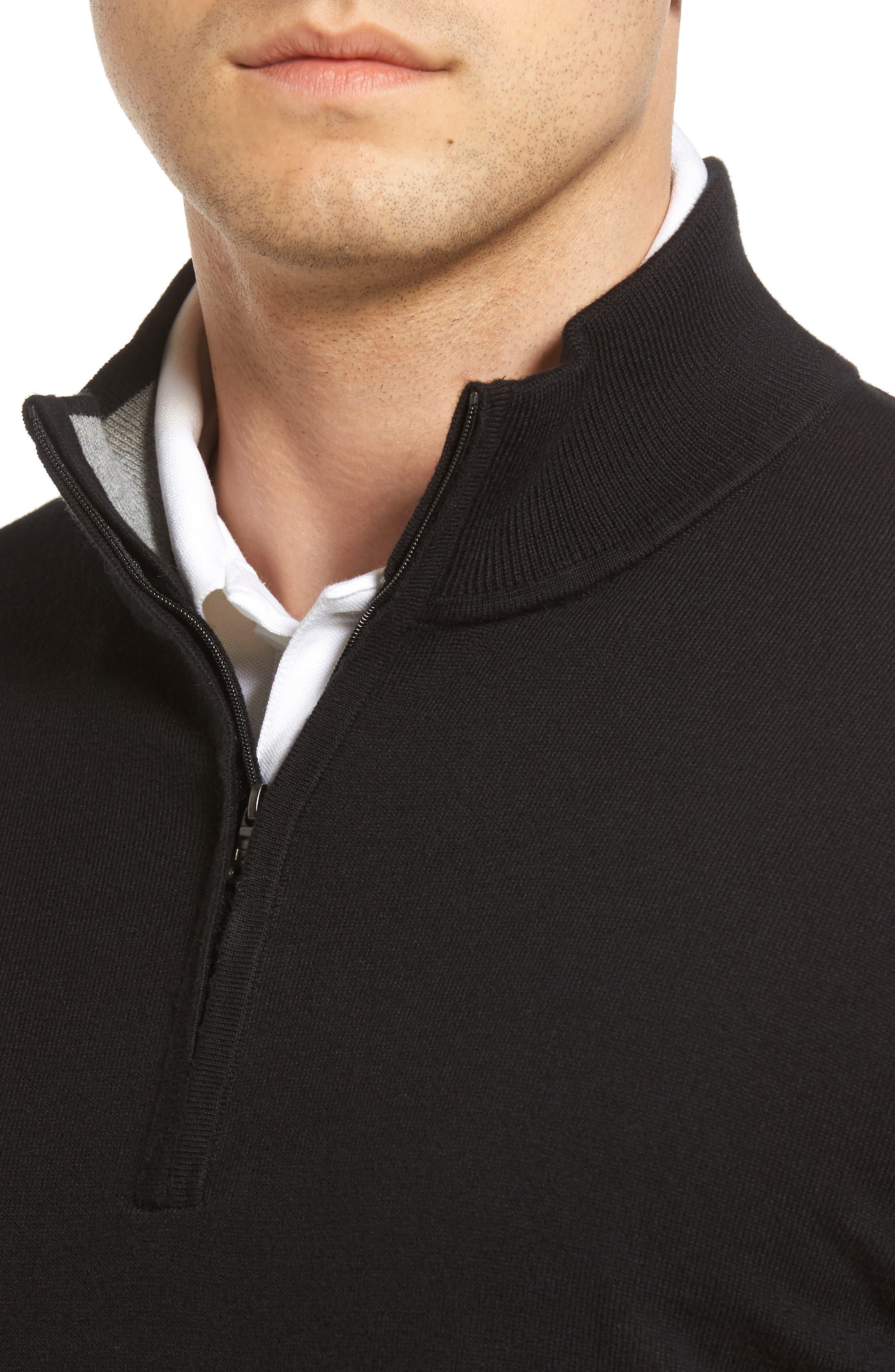 Lakemont Half Zip Sweater,                             Alternate thumbnail 4, color,                             BLACK