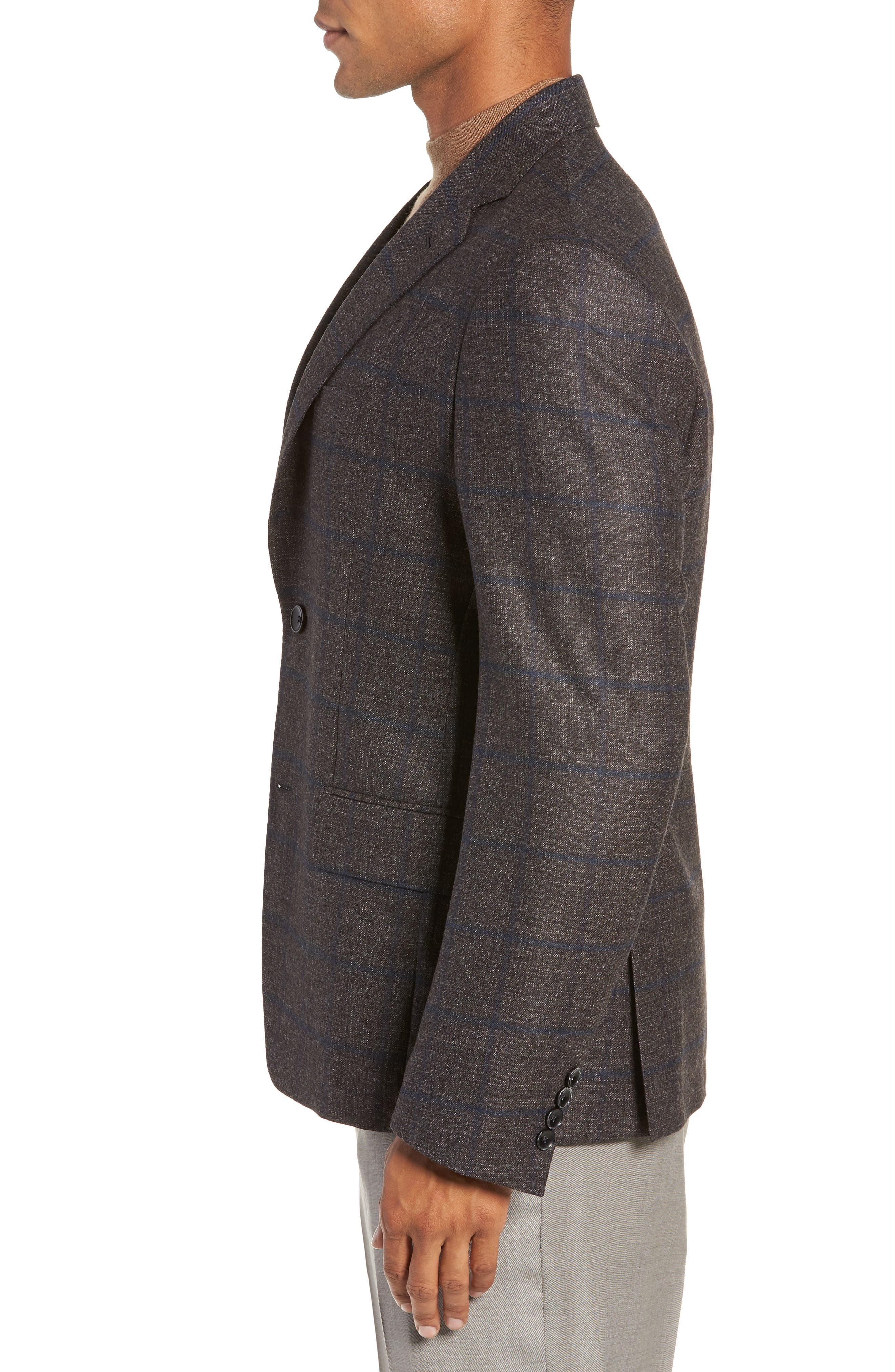 Trim Fit Windowpane Wool Sport Coat,                             Alternate thumbnail 3, color,                             DARK TAUPE