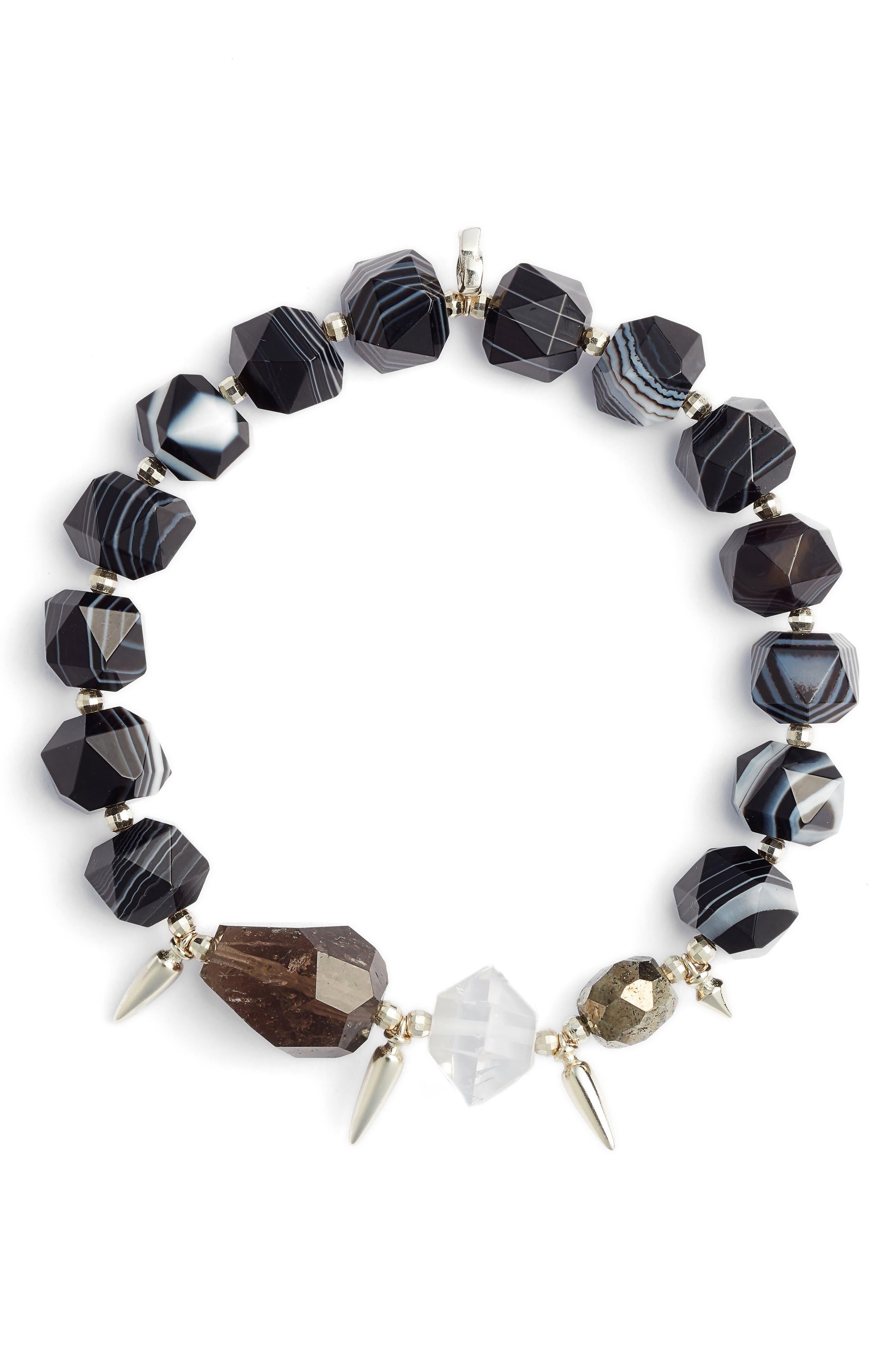 Sadie Beaded Stretch Bracelet,                         Main,                         color, BLACK MIX/ GOLD