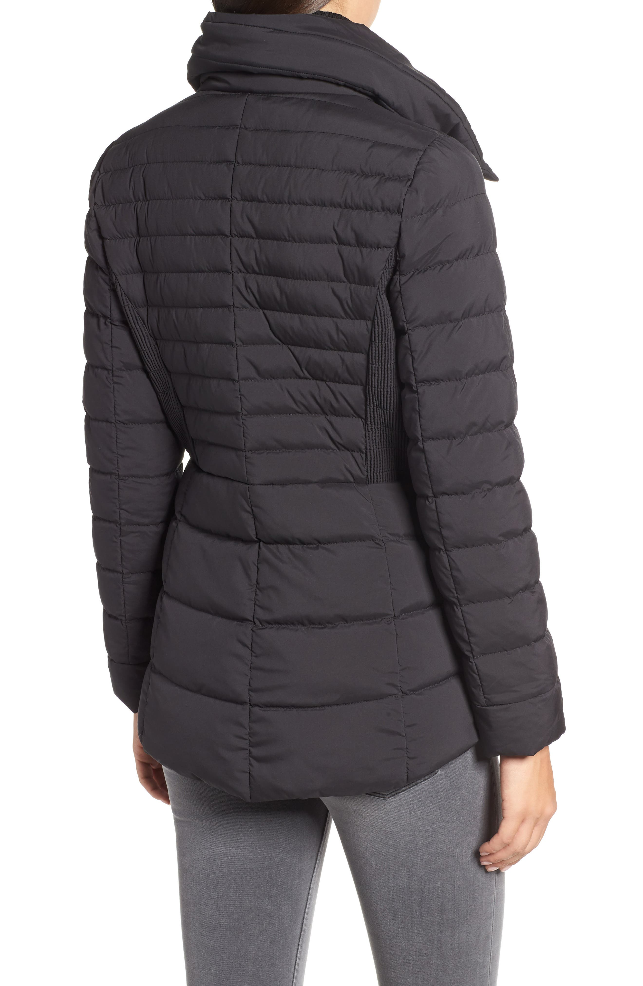 Asymmetrical Water Resistant Quilted Jacket,                             Alternate thumbnail 2, color,                             001