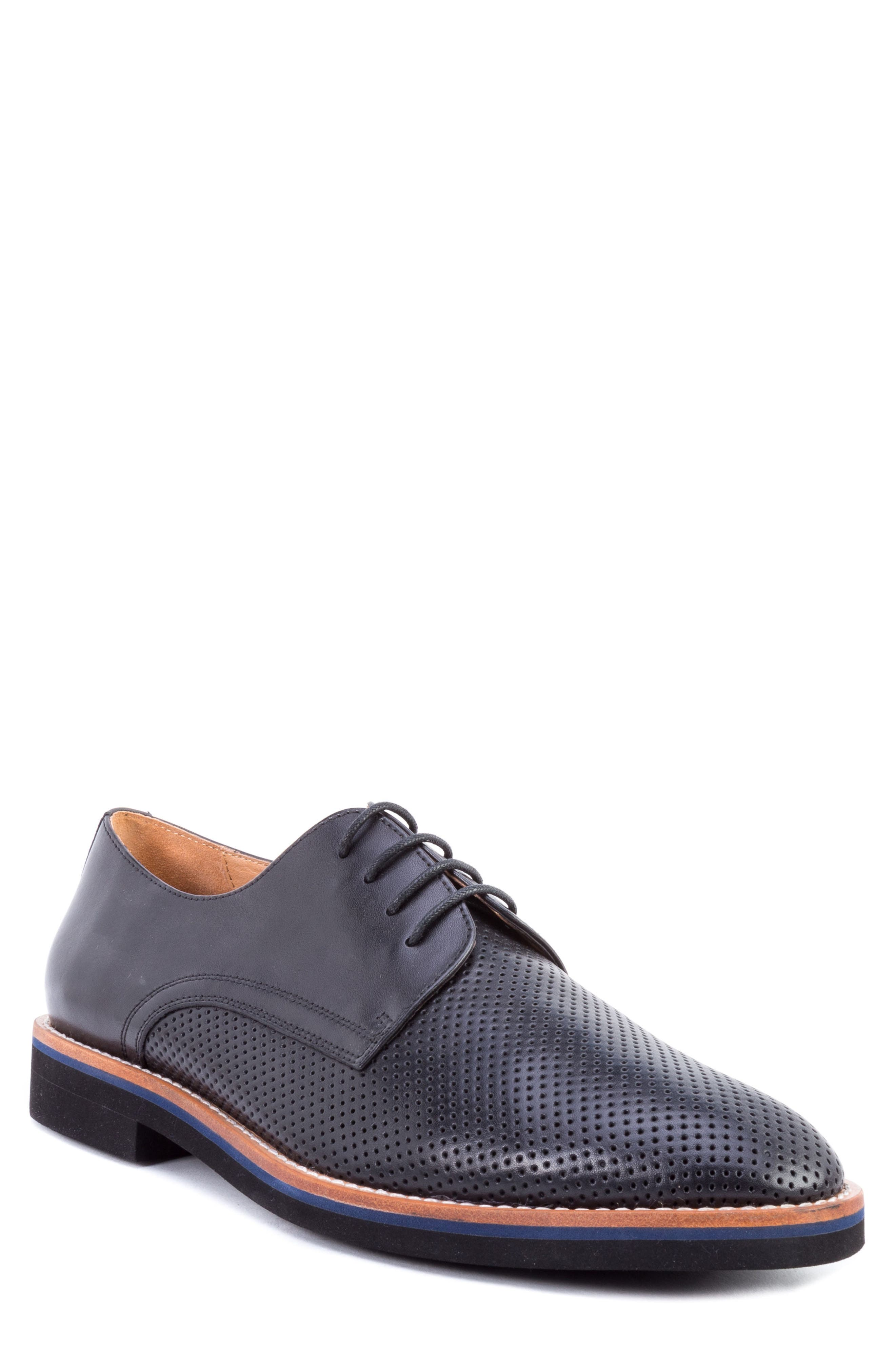 Hartung Perforated Plain Toe Derby,                         Main,                         color, BLACK LEATHER