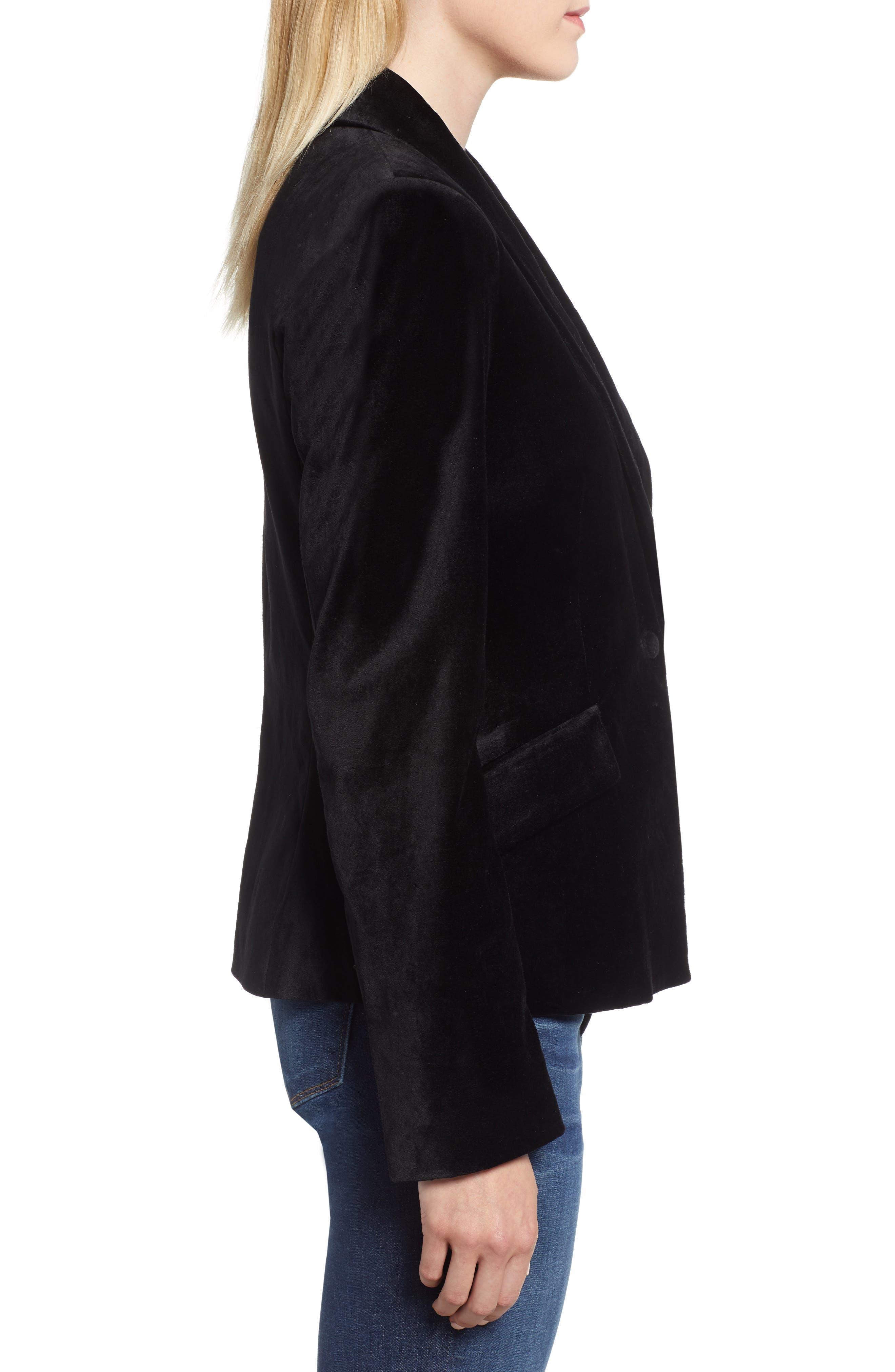 JEN7 BY 7 FOR ALL MANKIND,                             Stretch Cotton Velvet Blazer,                             Alternate thumbnail 3, color,                             BLACK