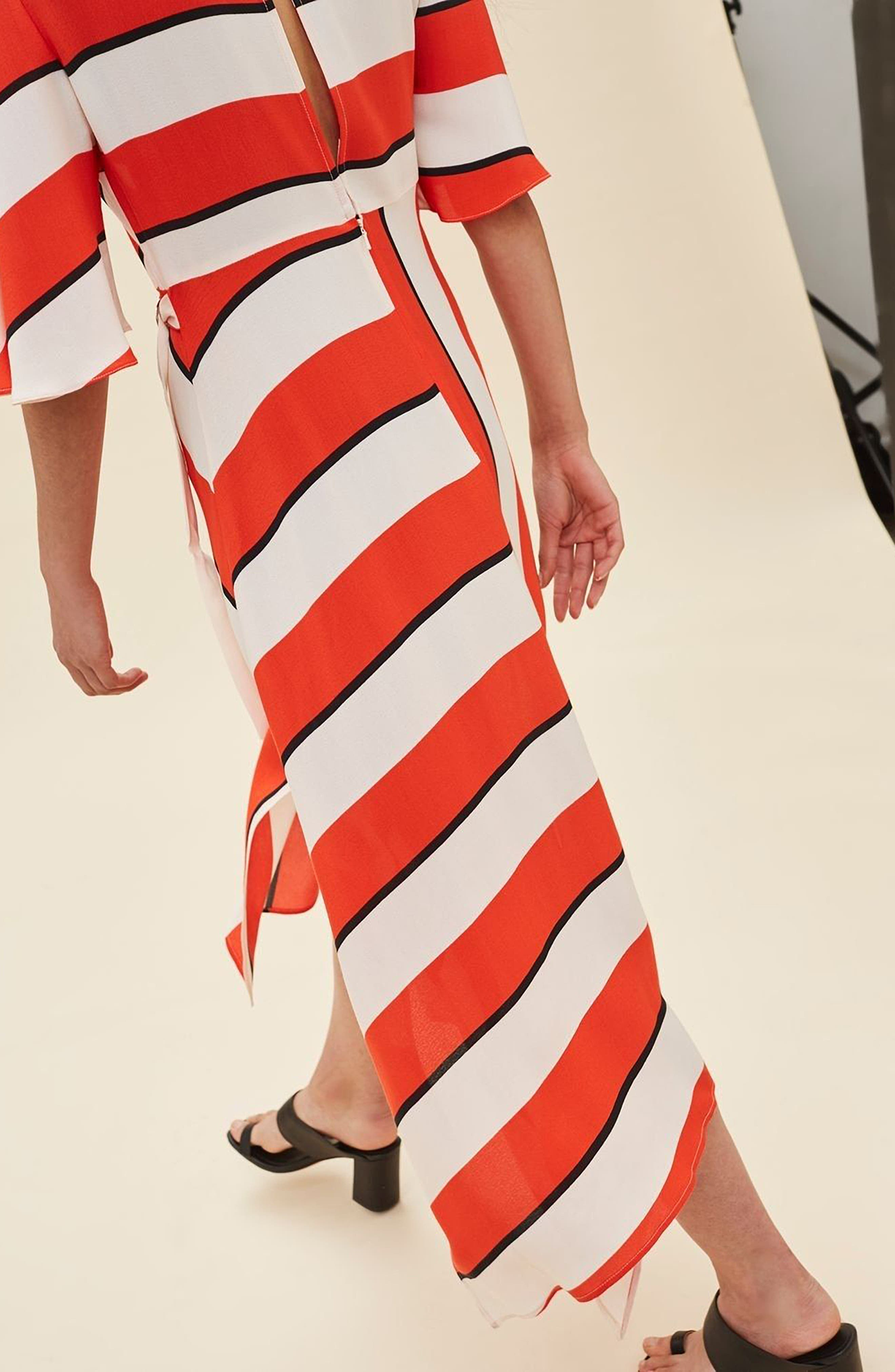 Diagonal Stripe Midi Dress,                             Alternate thumbnail 3, color,                             601