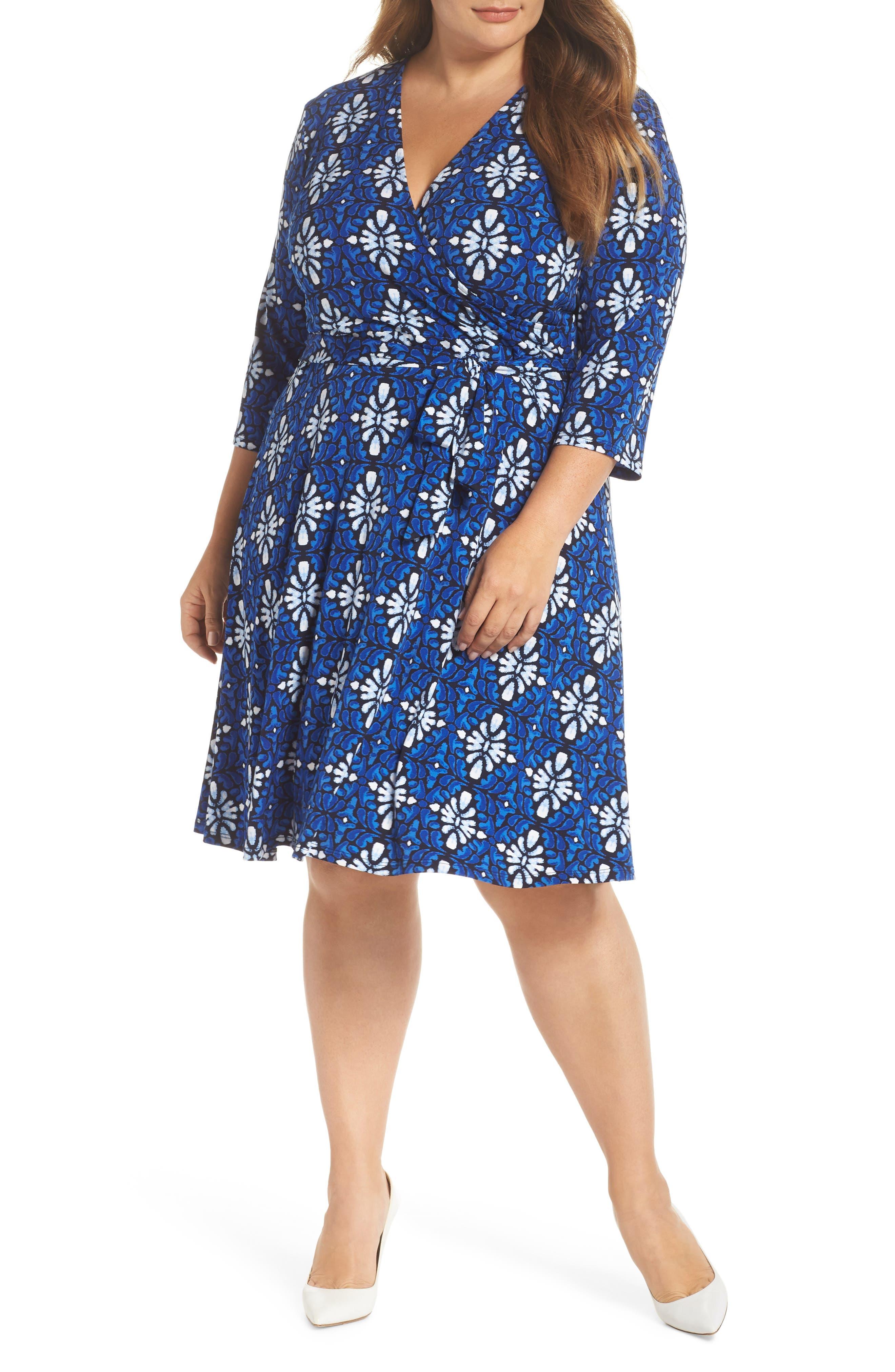 LEOTA Wrap Dress in Terrazzo Blue