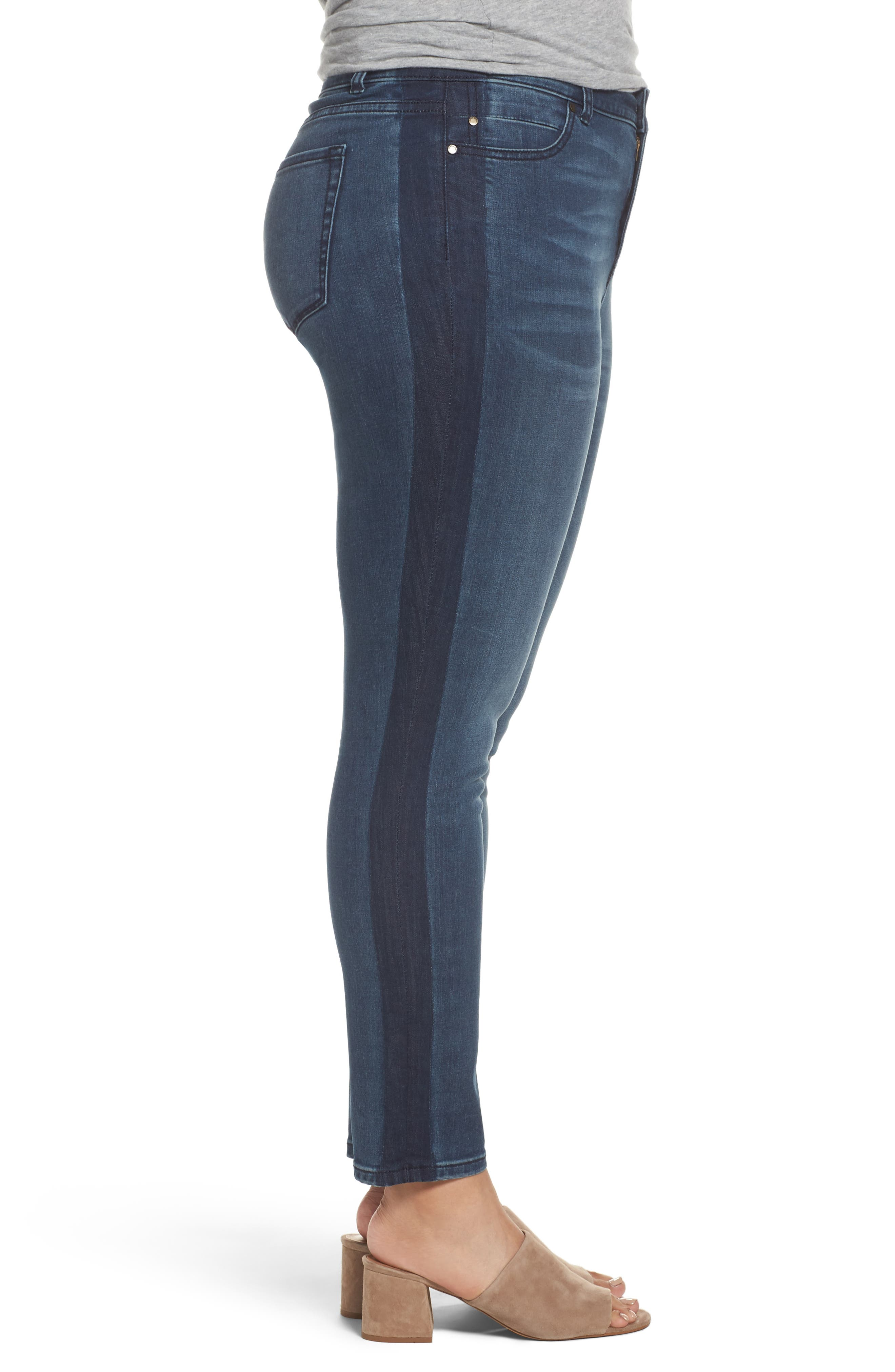 Side Panel Skinny Ankle Jeans,                             Alternate thumbnail 3, color,                             420