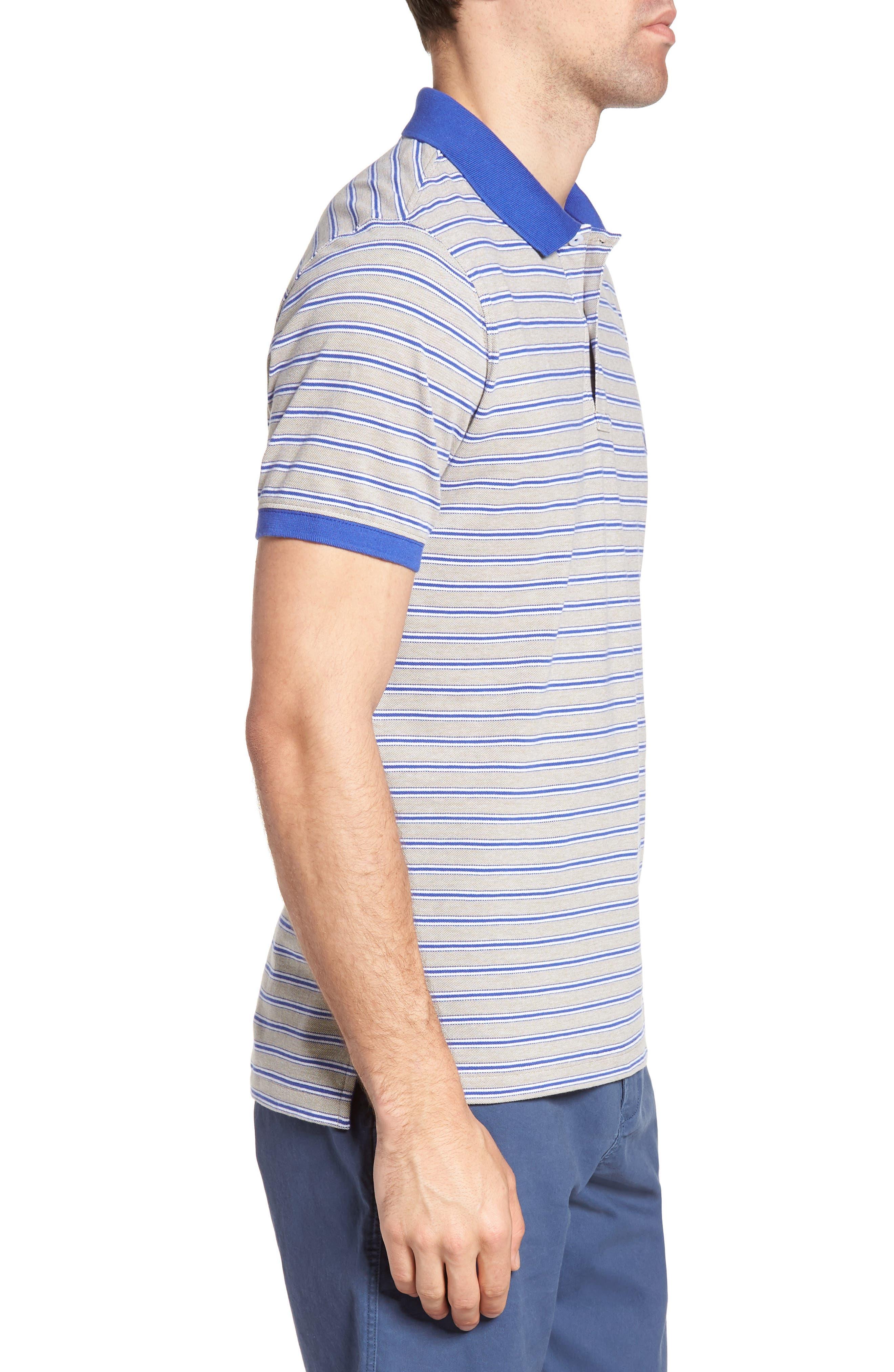 Kempthorne Sports Fit Stripe Piqué Polo,                             Alternate thumbnail 3, color,                             423