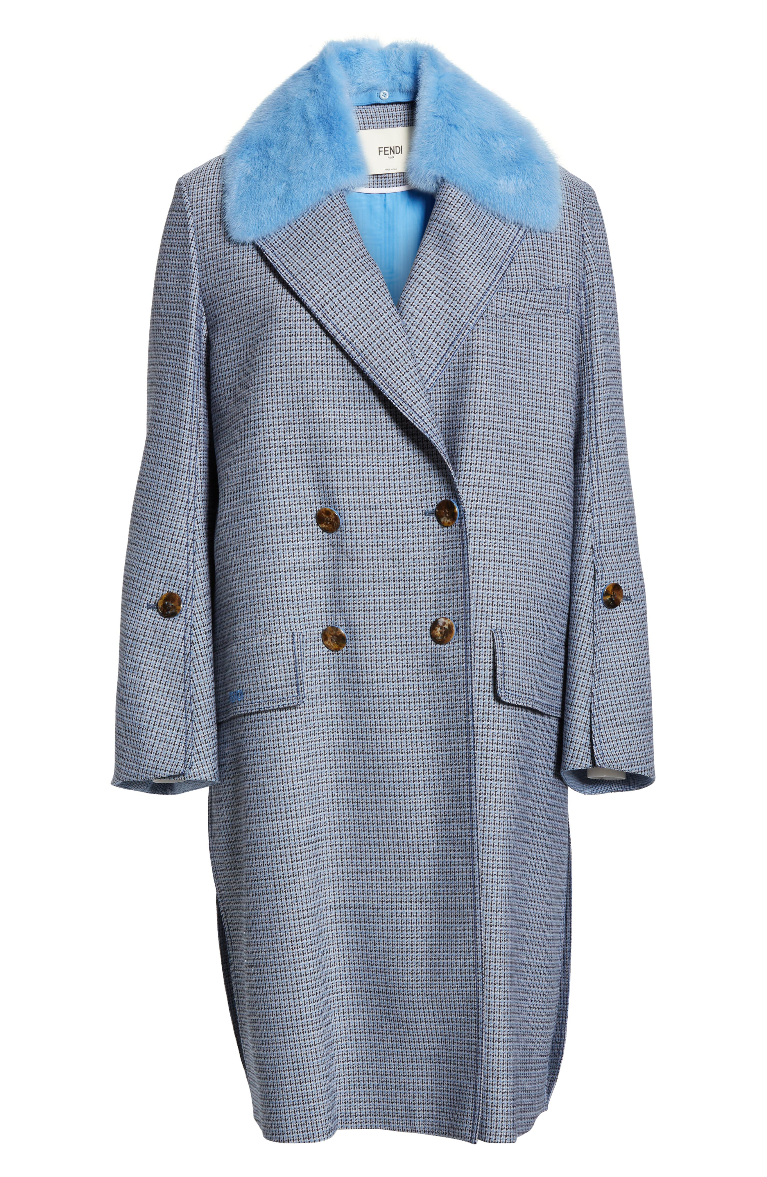 Genuine Mink Fur Collar Wool & Silk Blend Coat,                             Alternate thumbnail 6, color,                             ANTIGUA BLUE