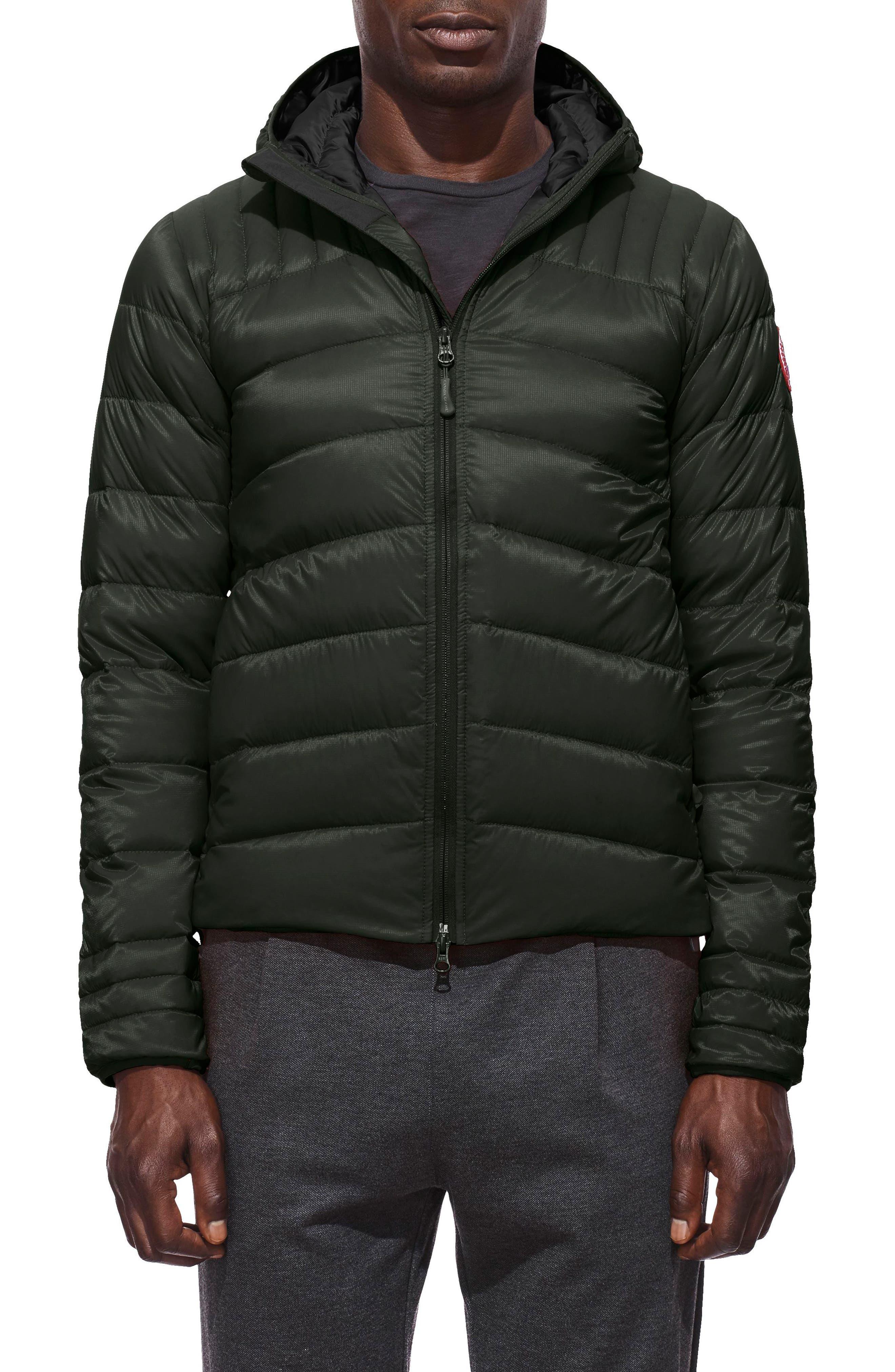Brookvale Slim Fit Hooded Down Jacket,                         Main,                         color, VOLCANO/ BLACK