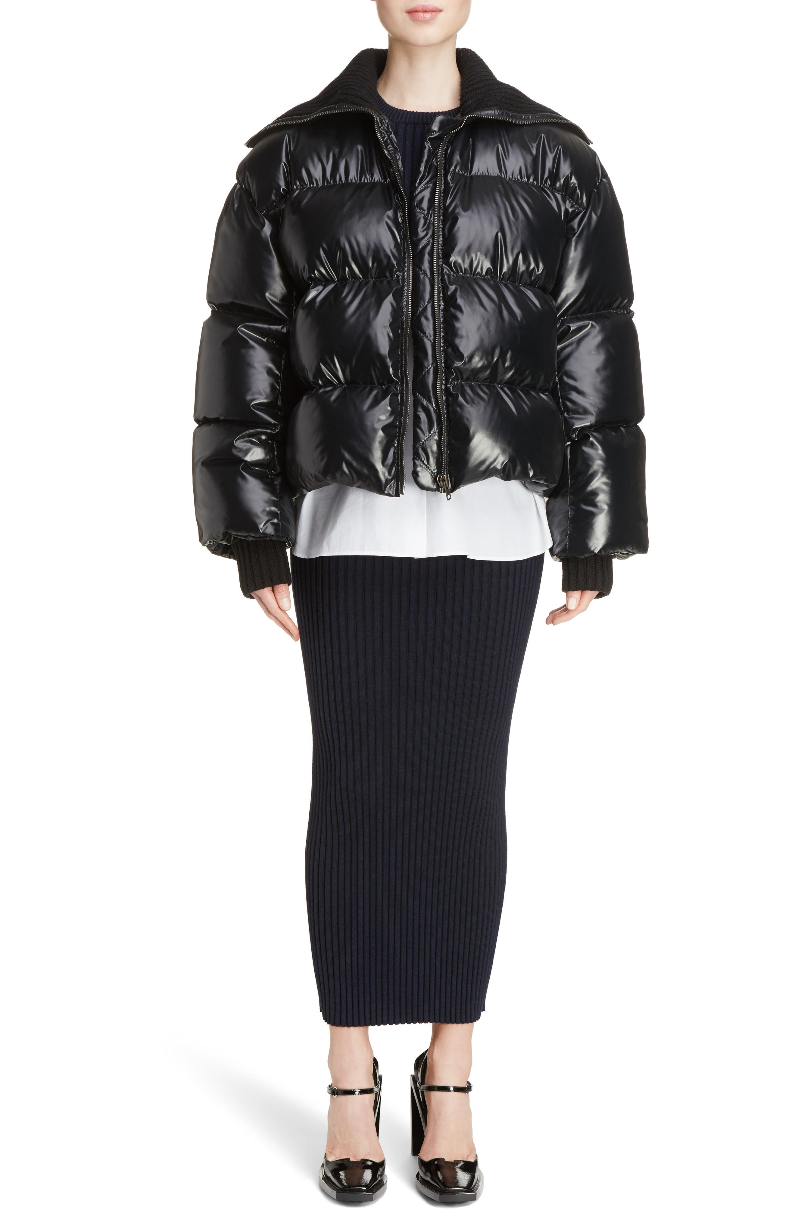 Crop Down Puffer Jacket,                             Alternate thumbnail 6, color,                             001