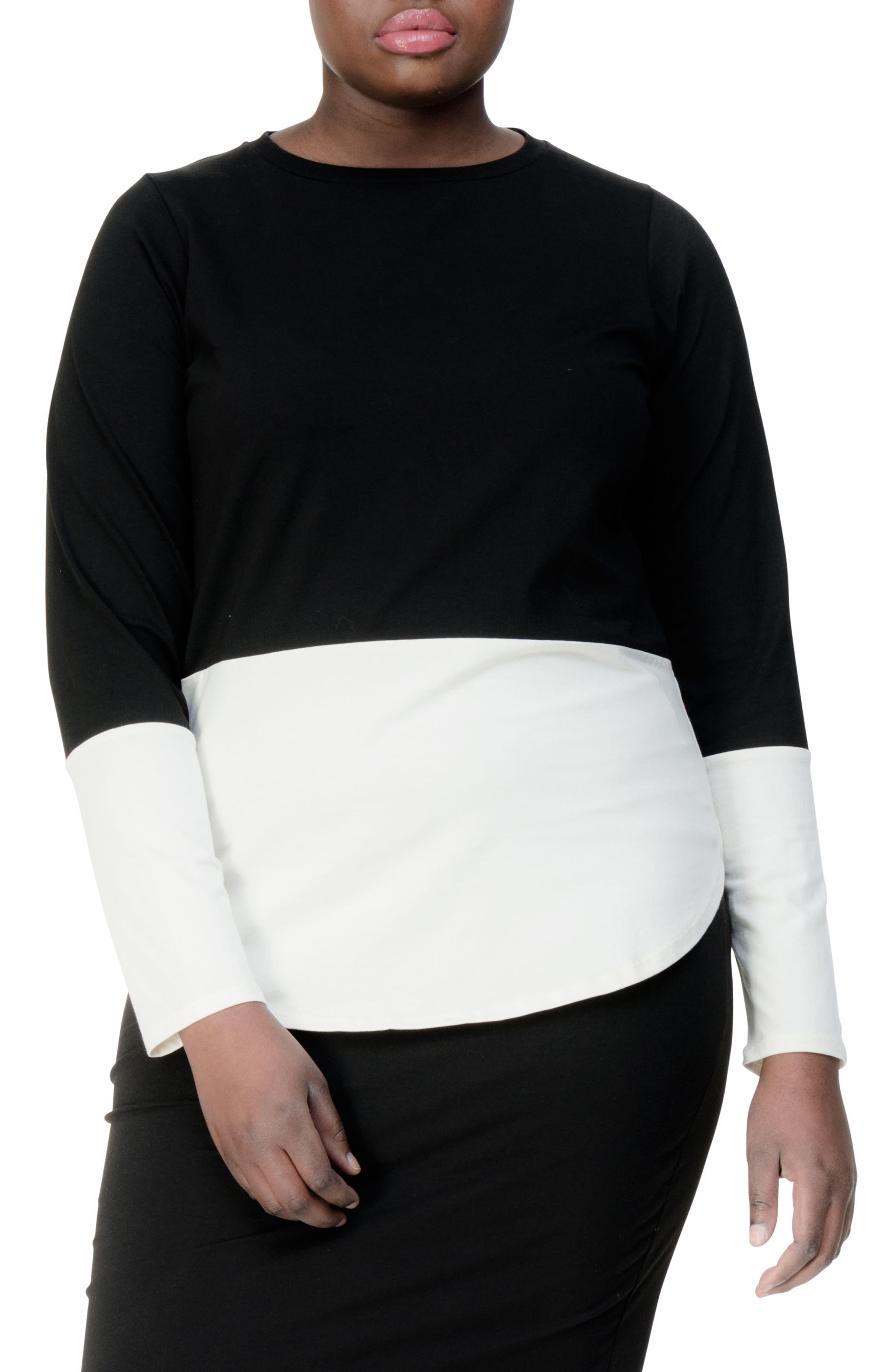 Rhine Colorblock Top,                         Main,                         color, BLACK/ WHITE