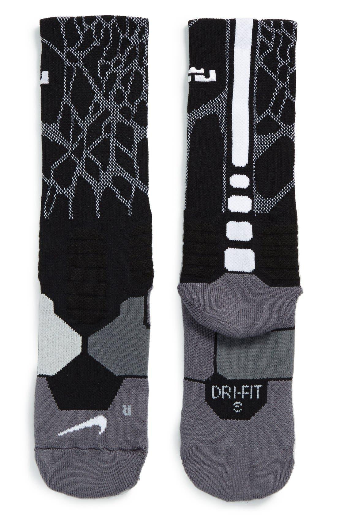'LeBron - Hyper Elite' Cushioned Basketball Crew Socks,                             Alternate thumbnail 4, color,                             001