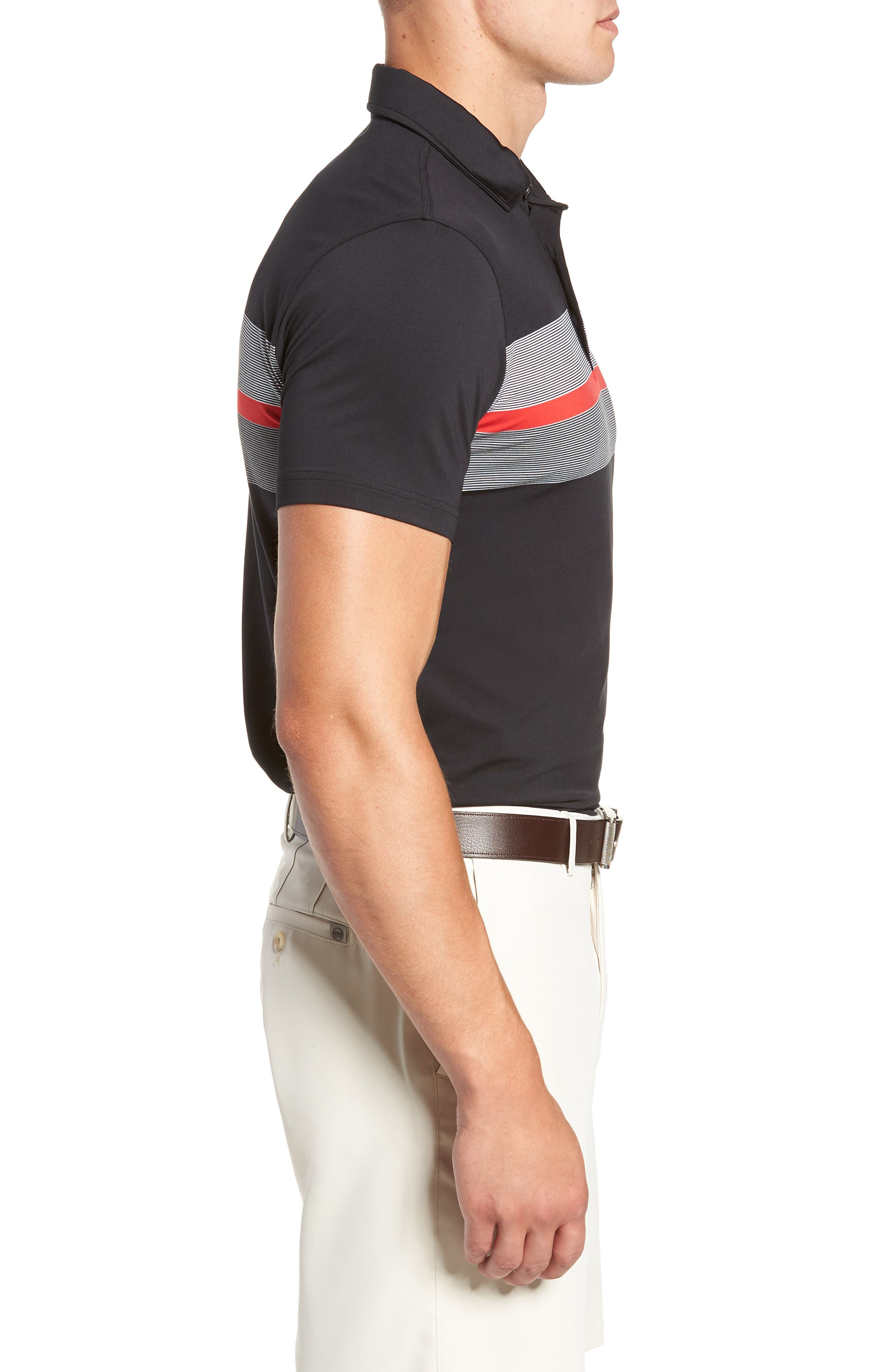 R18 Tech Daytona Stripe Golf Polo,                             Alternate thumbnail 3, color,                             BLACK