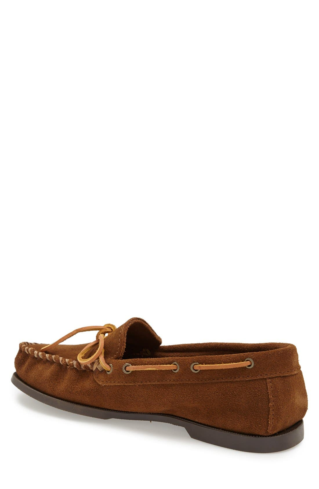 Leather Camp Moccasin,                             Alternate thumbnail 3, color,                             DUSTY BROWN