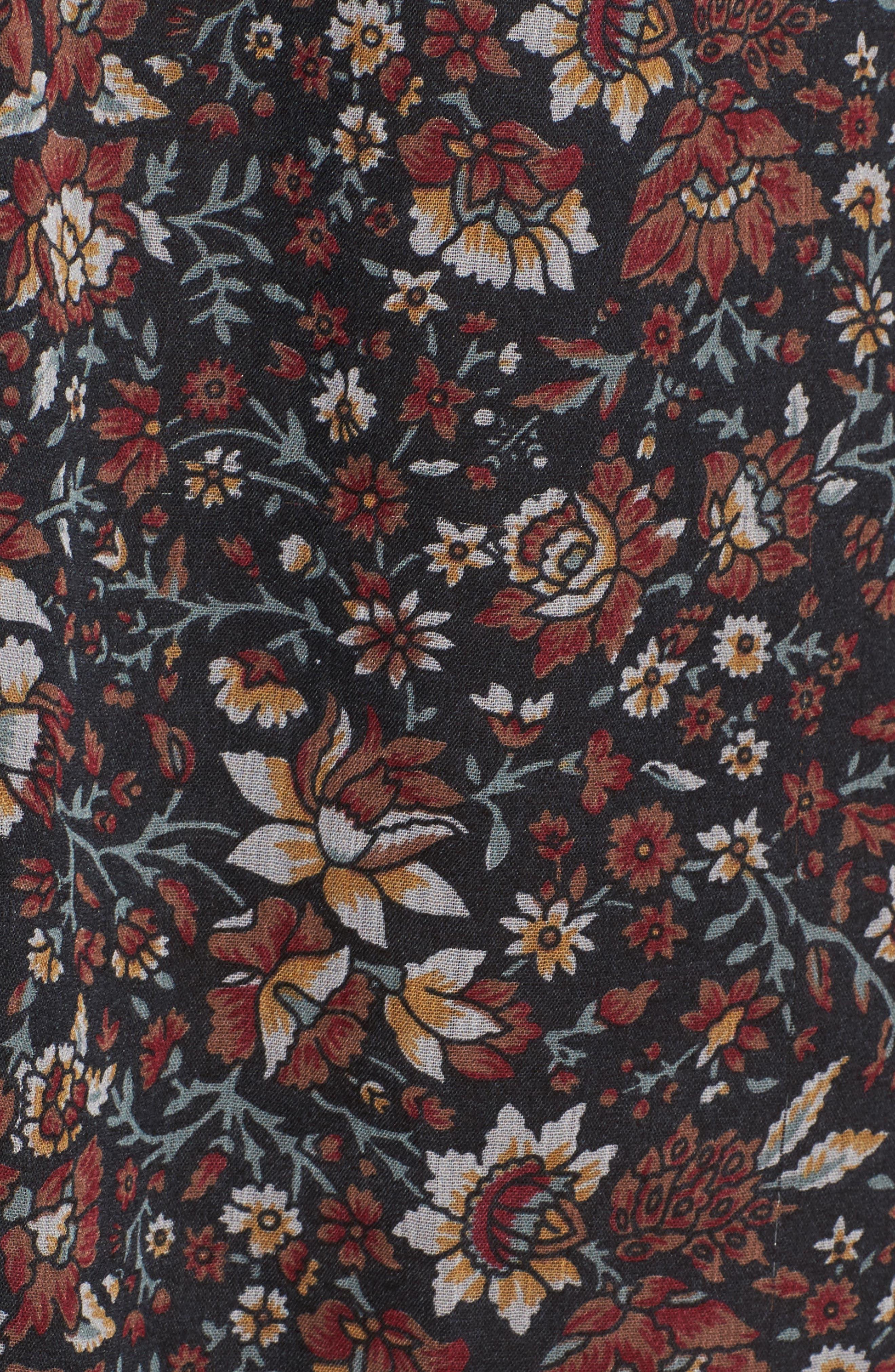 Eloise Floral Print Minidress,                             Alternate thumbnail 5, color,                             001