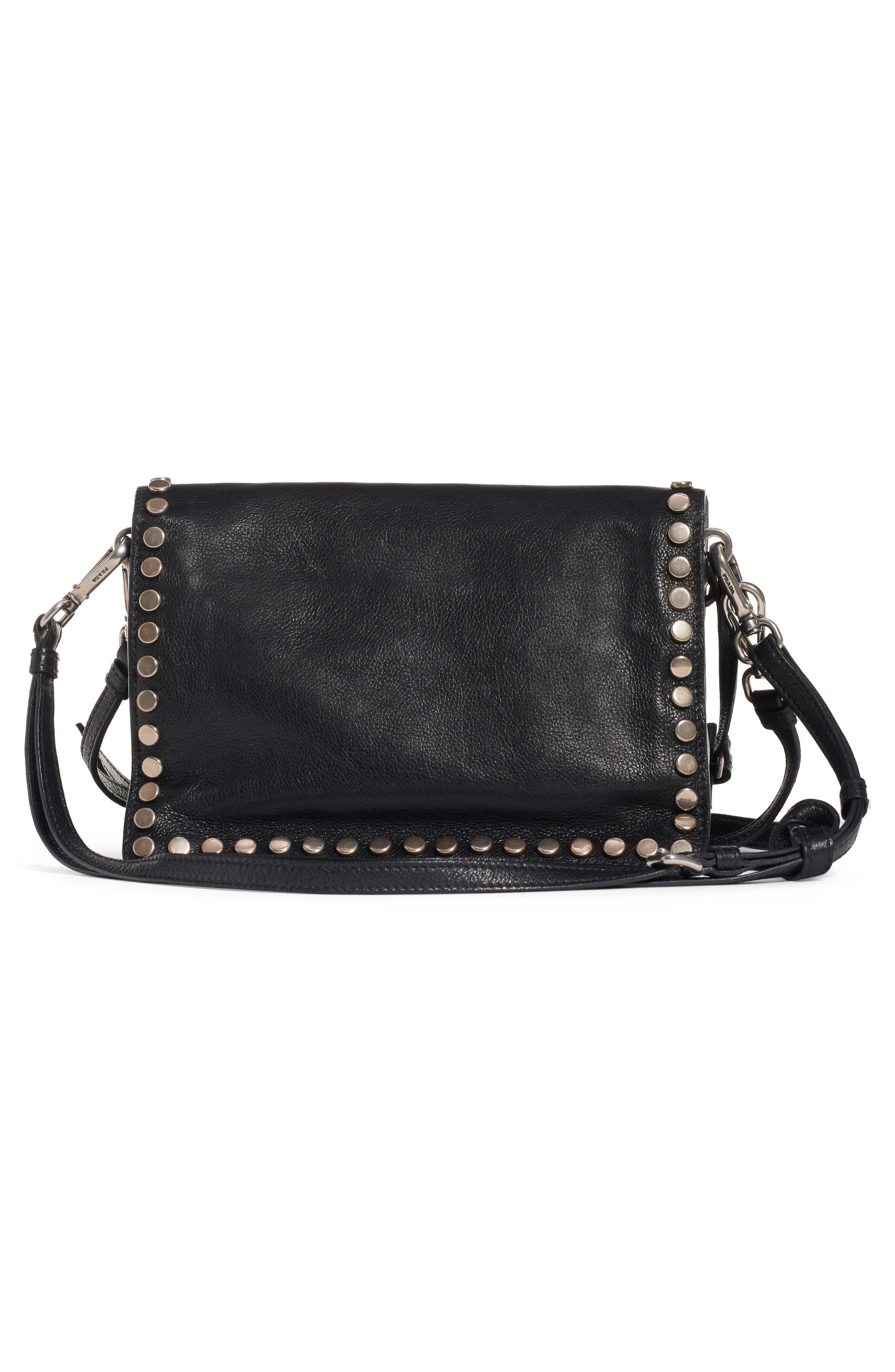 Small Stud Etiquette Shoulder Bag,                             Alternate thumbnail 3, color,                             NERO/ ASTRALE