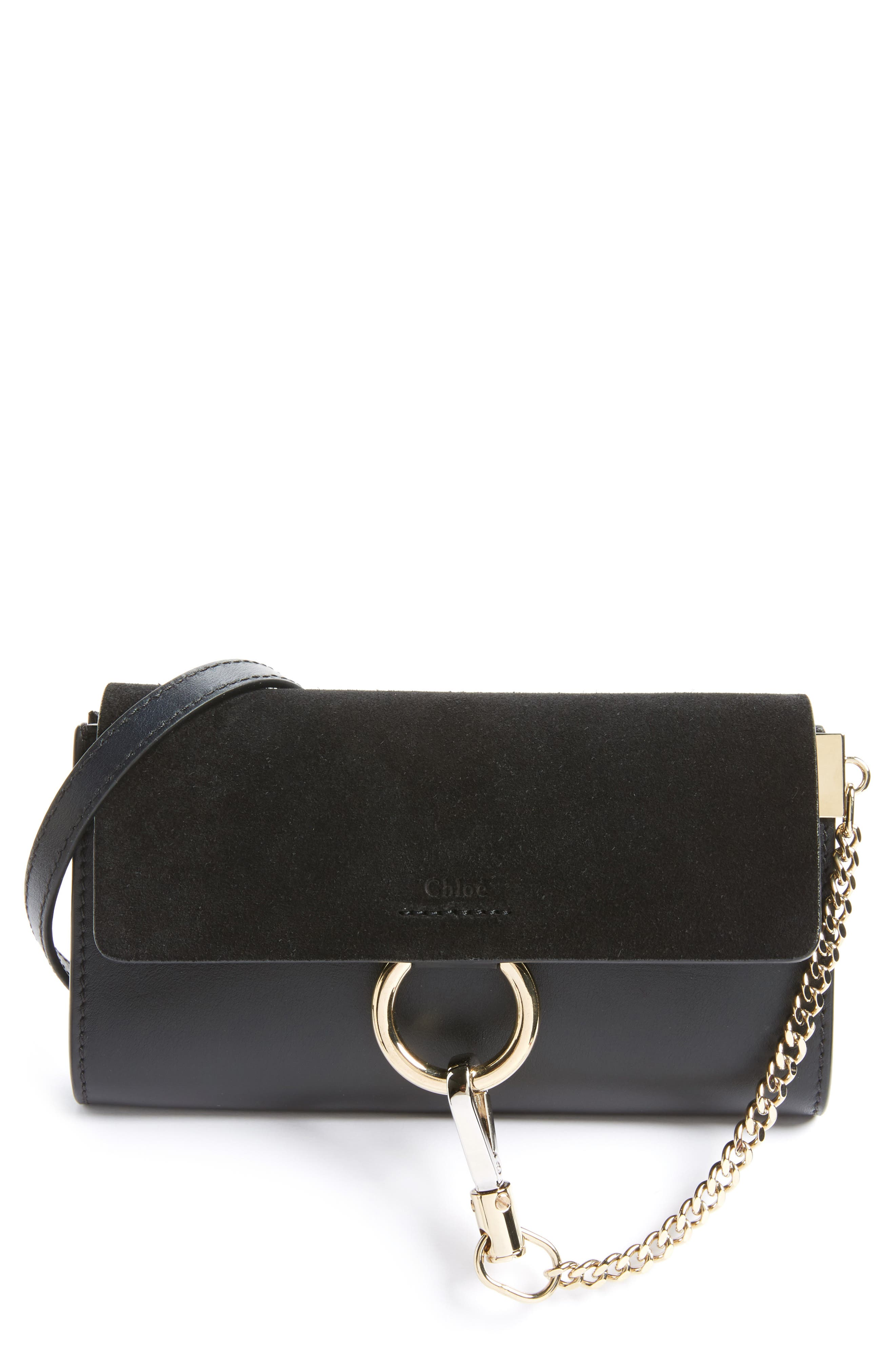 Mini Faye Suede & Leather Wallet on a Chain,                         Main,                         color, BLACK