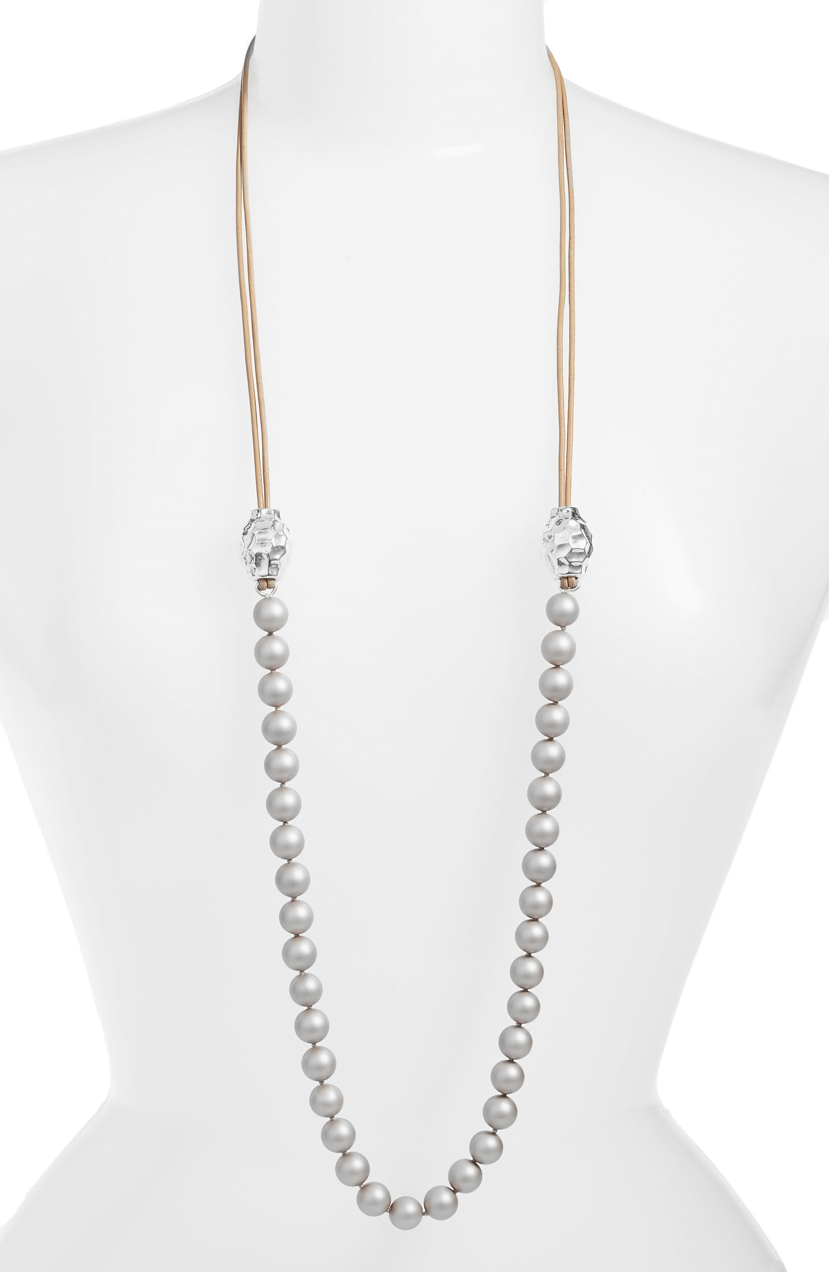 Imitation Pearl & Sterling Silver Strand Necklace,                         Main,                         color, 250