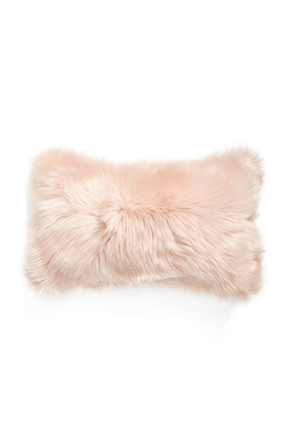 'Sumptuous' Faux Fur Accent Pillow,                             Main thumbnail 1, color,                             ROSE