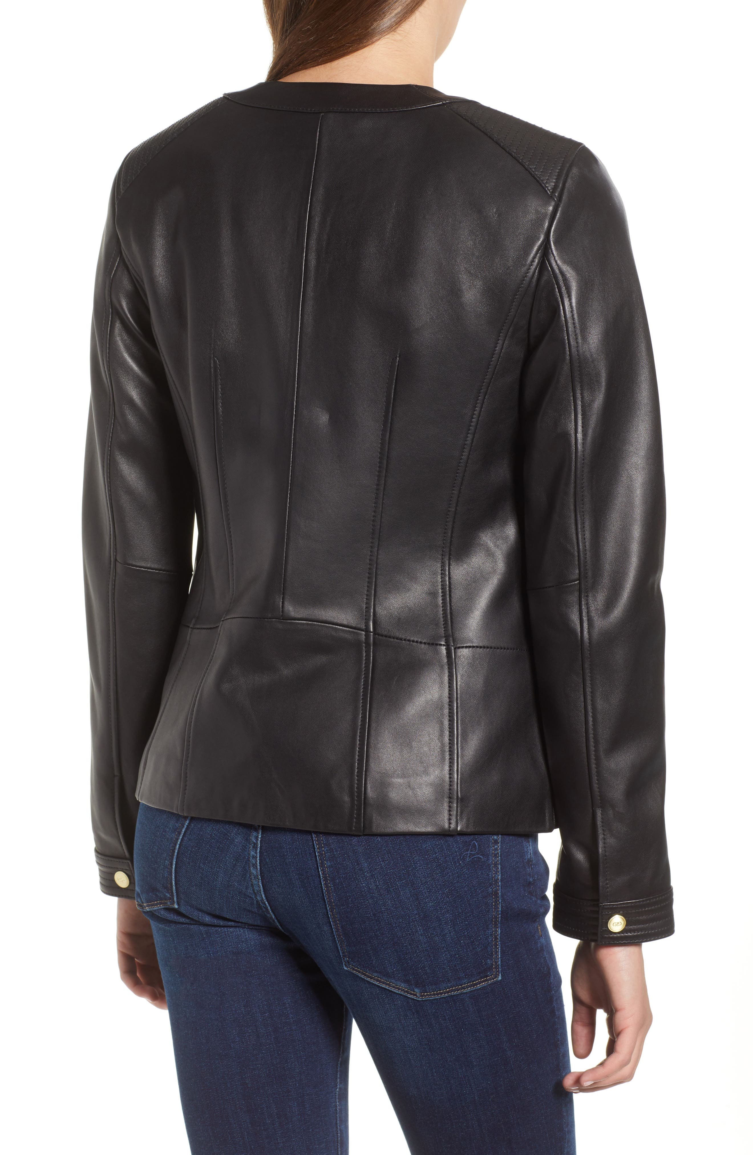 Smooth Lambskin Leather Jacket,                             Alternate thumbnail 2, color,                             002