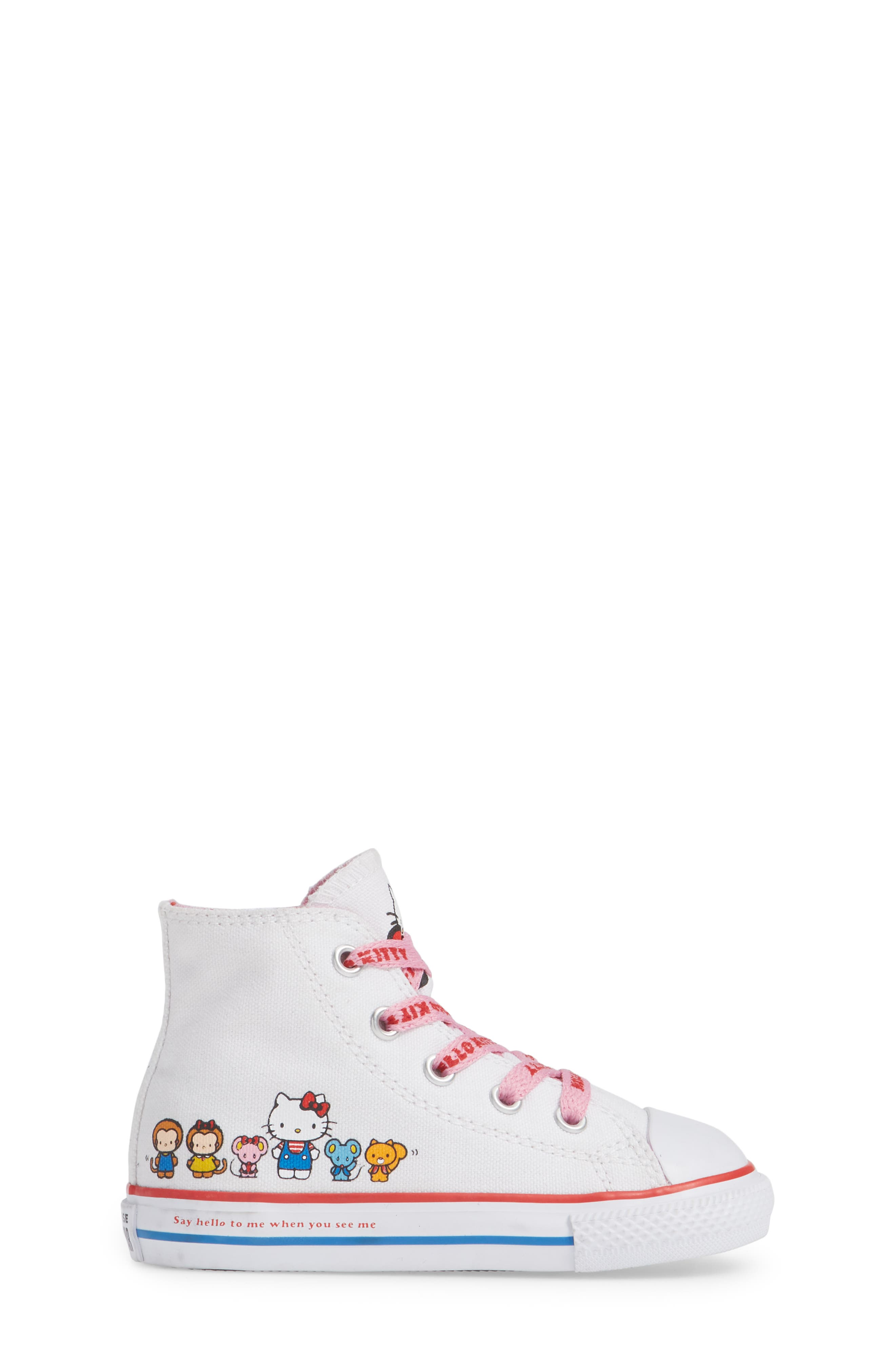 Chuck Taylor<sup>®</sup> All Star<sup>®</sup> Hello Kitty<sup>®</sup> High Top Sneaker,                             Alternate thumbnail 3, color,                             WHITE
