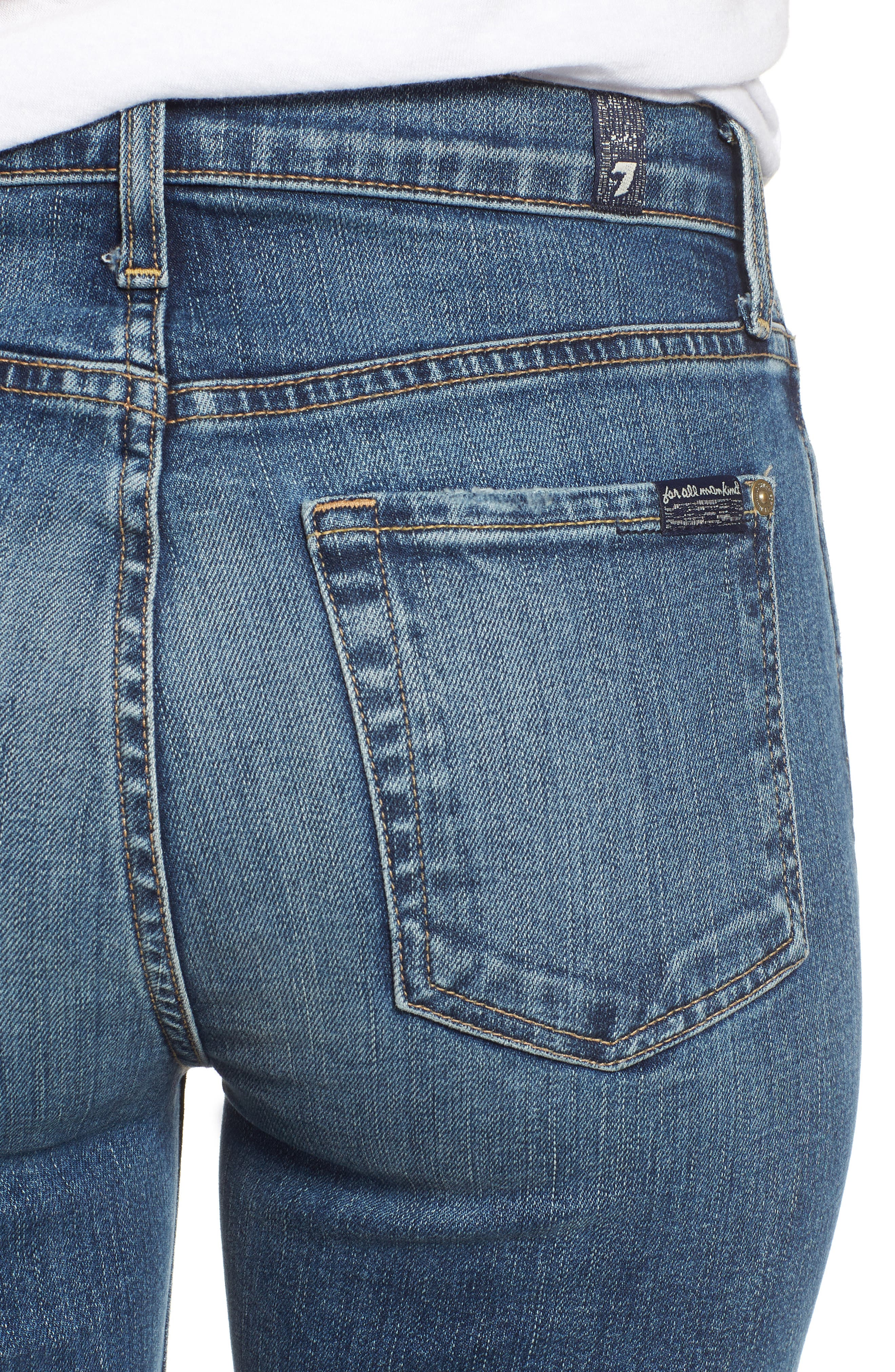 7 FOR ALL MANKIND<SUP>®</SUP>,                             Edie High Waist Ankle Straight Leg Jeans,                             Alternate thumbnail 4, color,                             AUTHENTIC MEDIUM