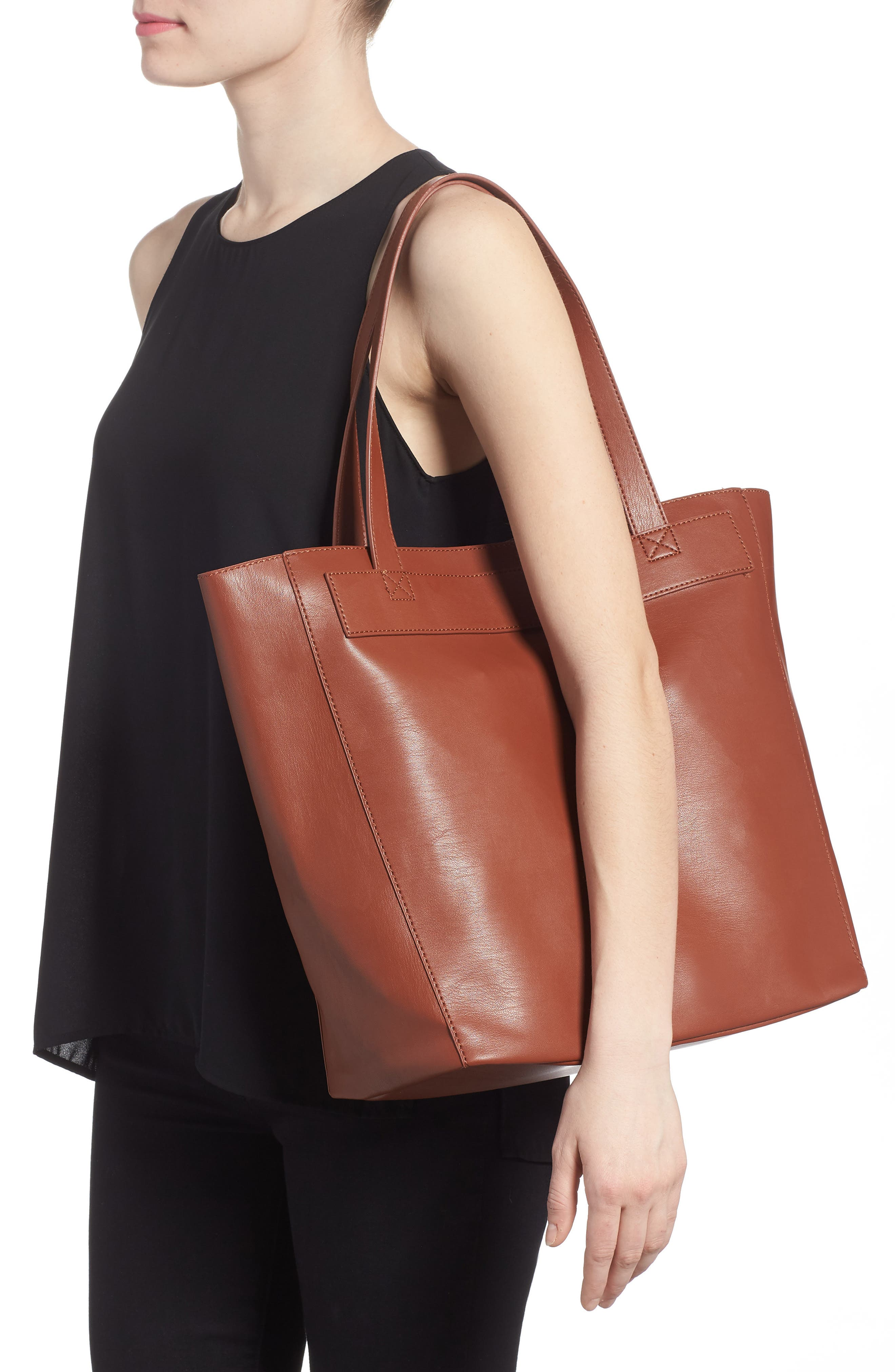 Stitched Faux Leather Tote,                             Alternate thumbnail 2, color,                             COGNAC