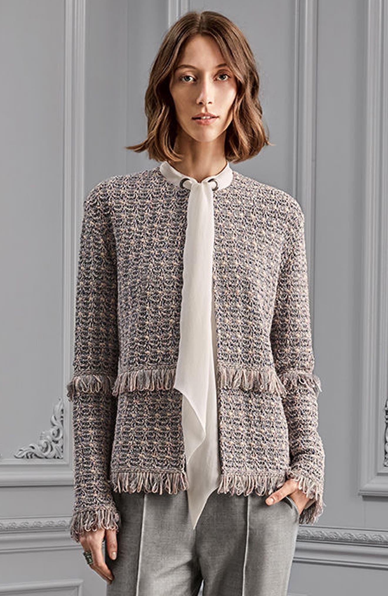 Textural Powder Tweed Jacket,                             Alternate thumbnail 9, color,                             020