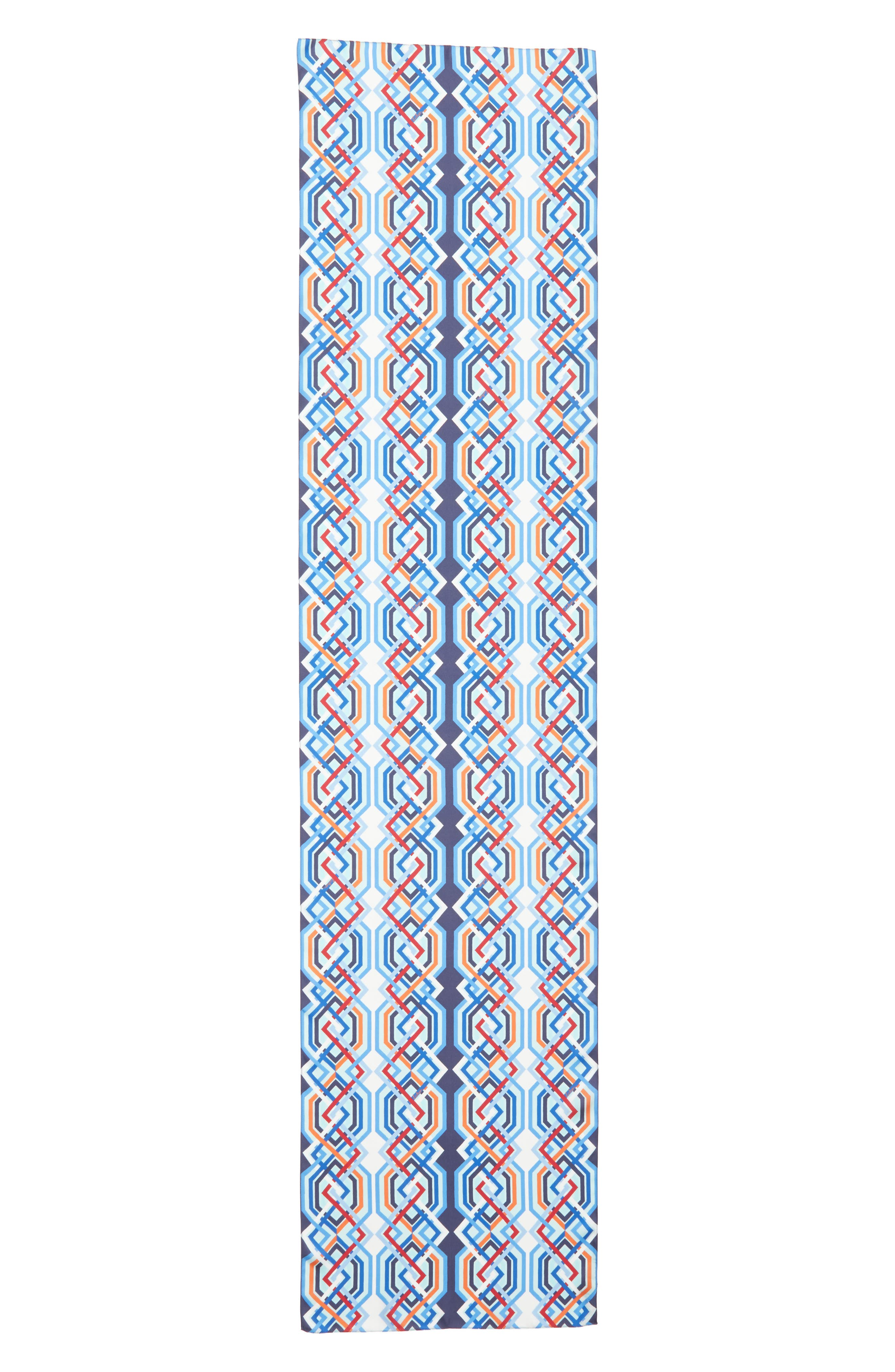 Geo Lattice Silk Scarf,                             Alternate thumbnail 3, color,                             411