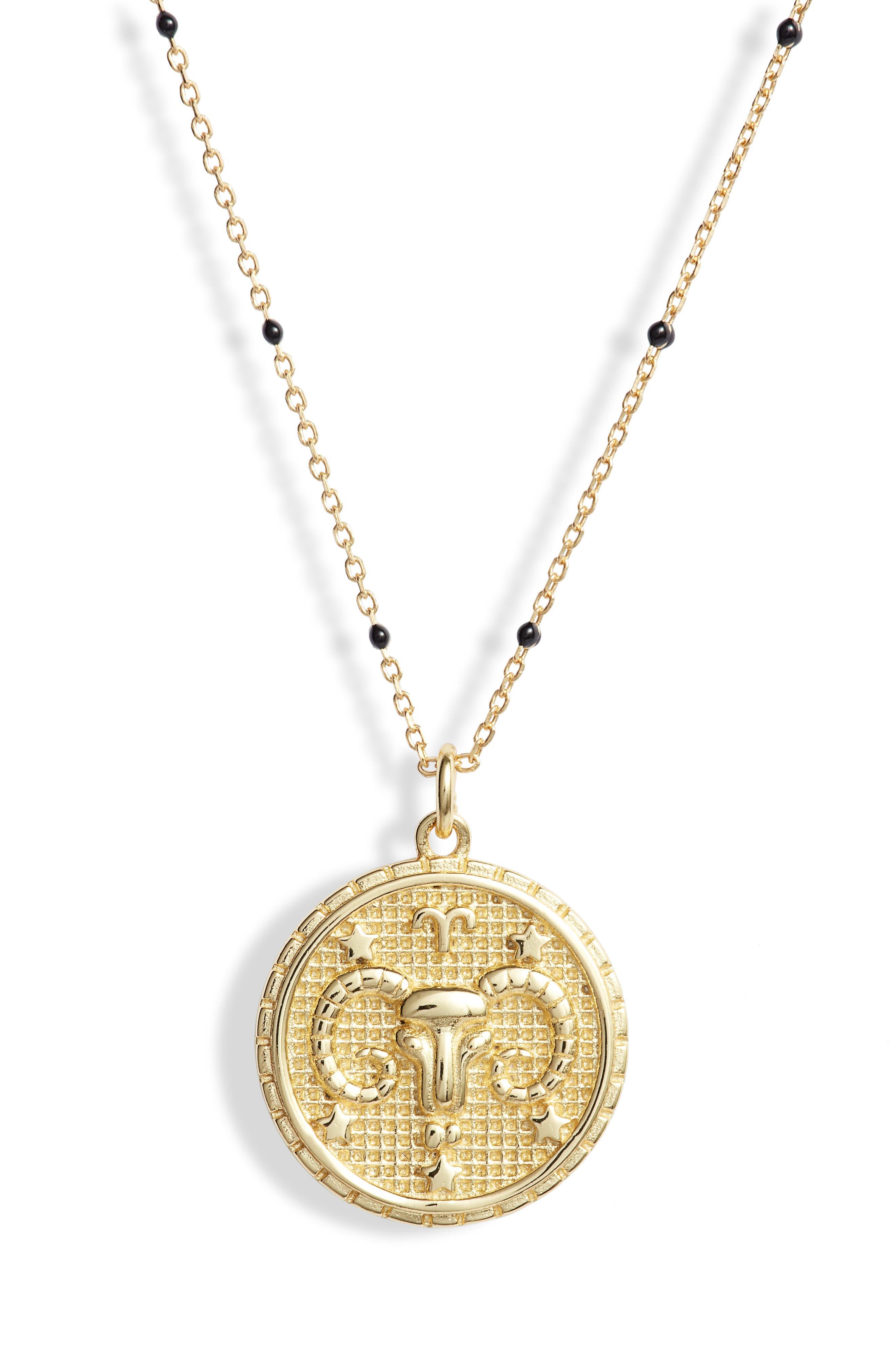 Zodiac Pendant Necklace,                             Main thumbnail 1, color,                             ARIES