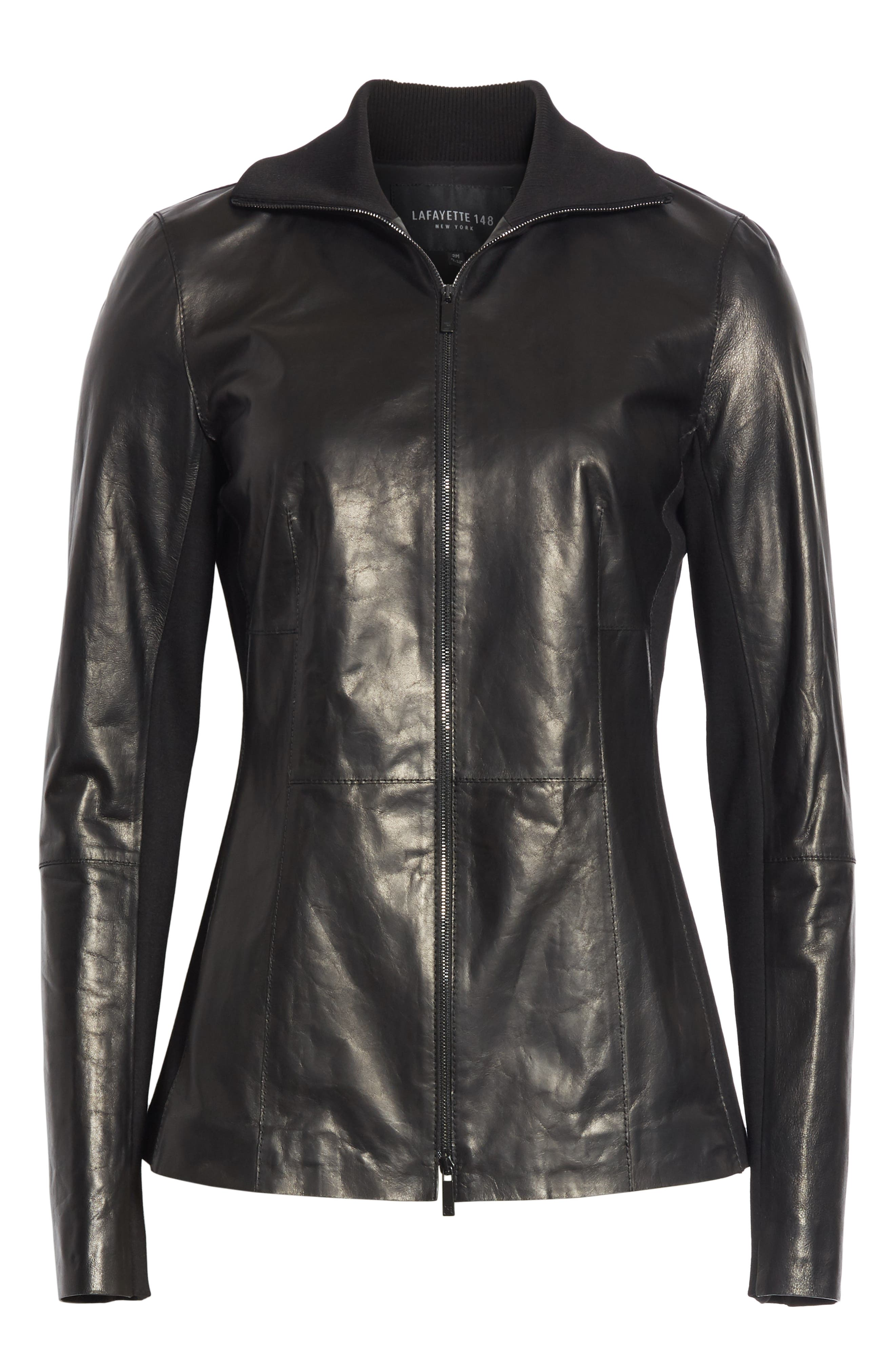 Ponte Panel Leather Jacket,                             Alternate thumbnail 5, color,                             001